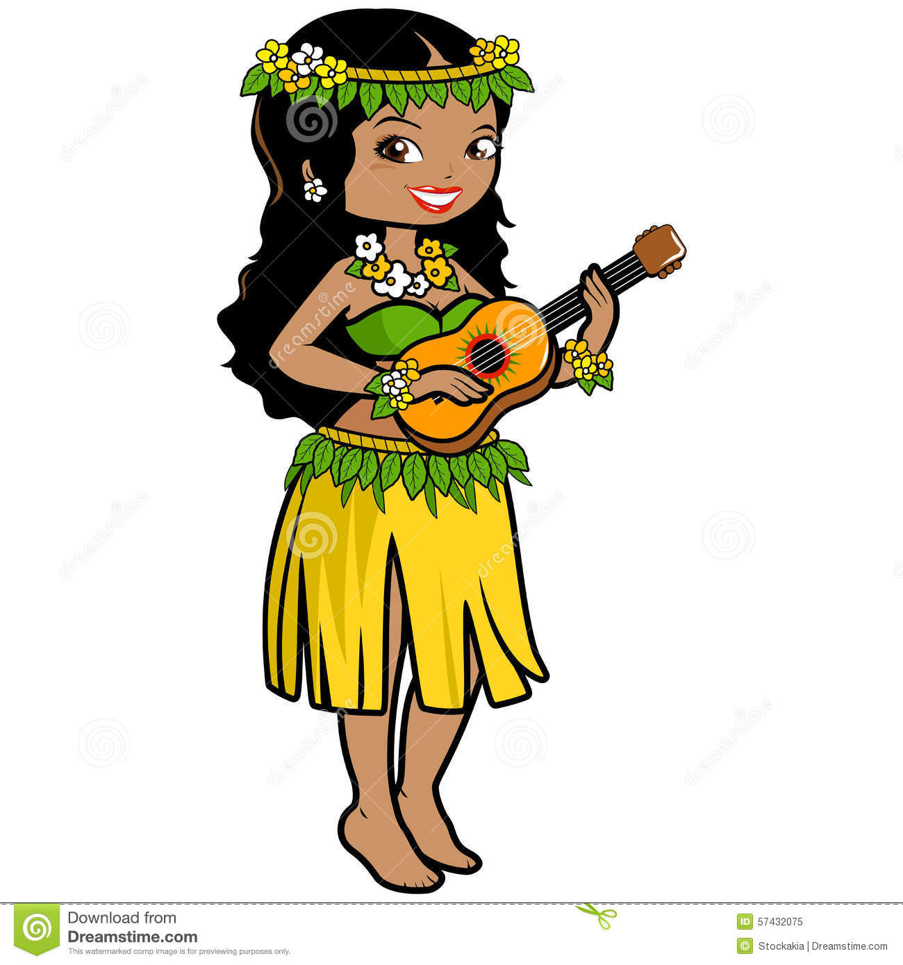 hawaiian girl playing the ukulele stock vector illustration of female  hawaiian 57432075 clipart hula dancer clipart hula girl
