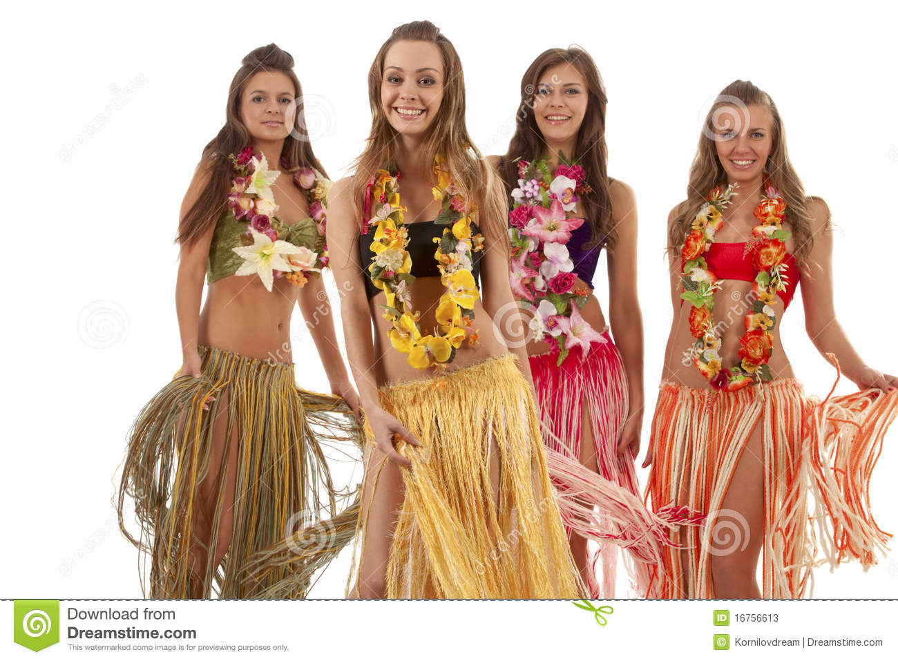 Hawaiian hula girls are
