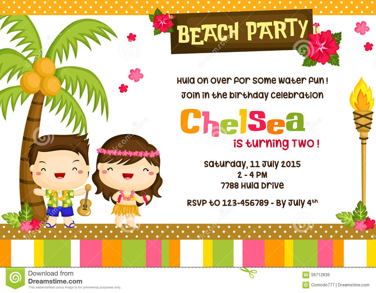 Hawaiian invitation card stock vector image 56712836