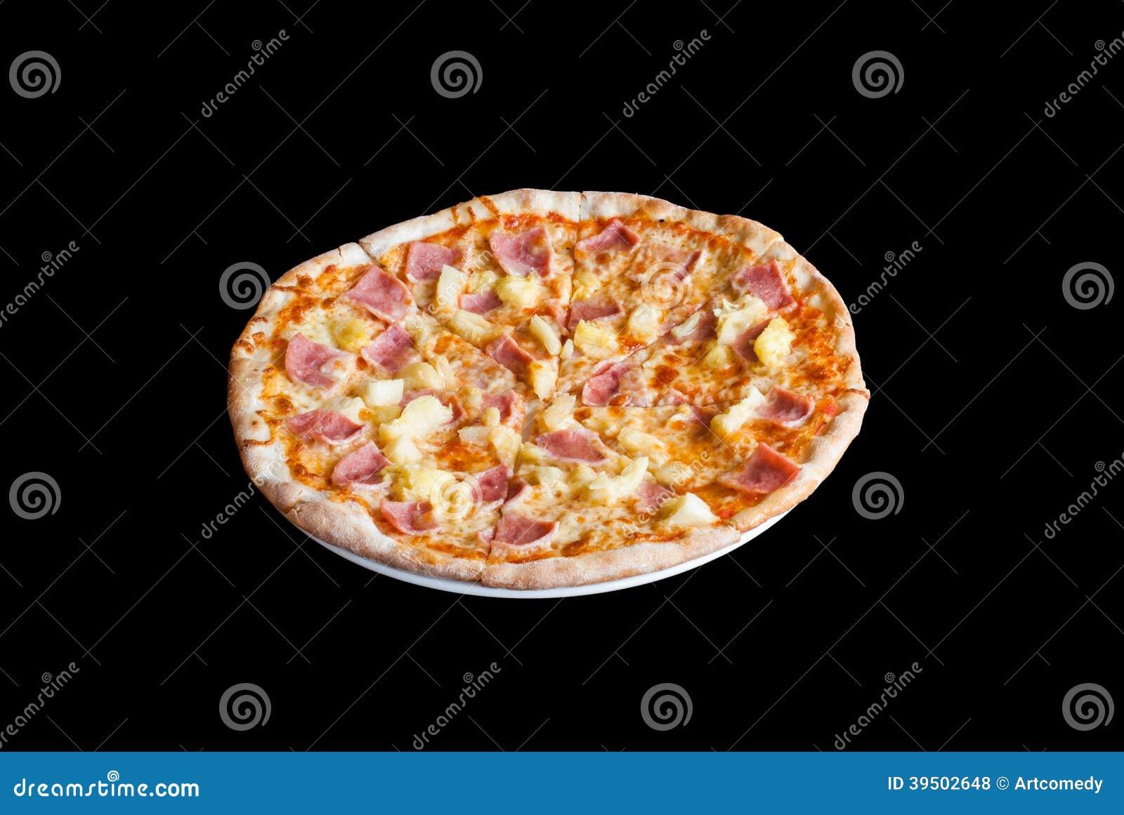 Hawaiian Pizza , pineapple , ham and cheese