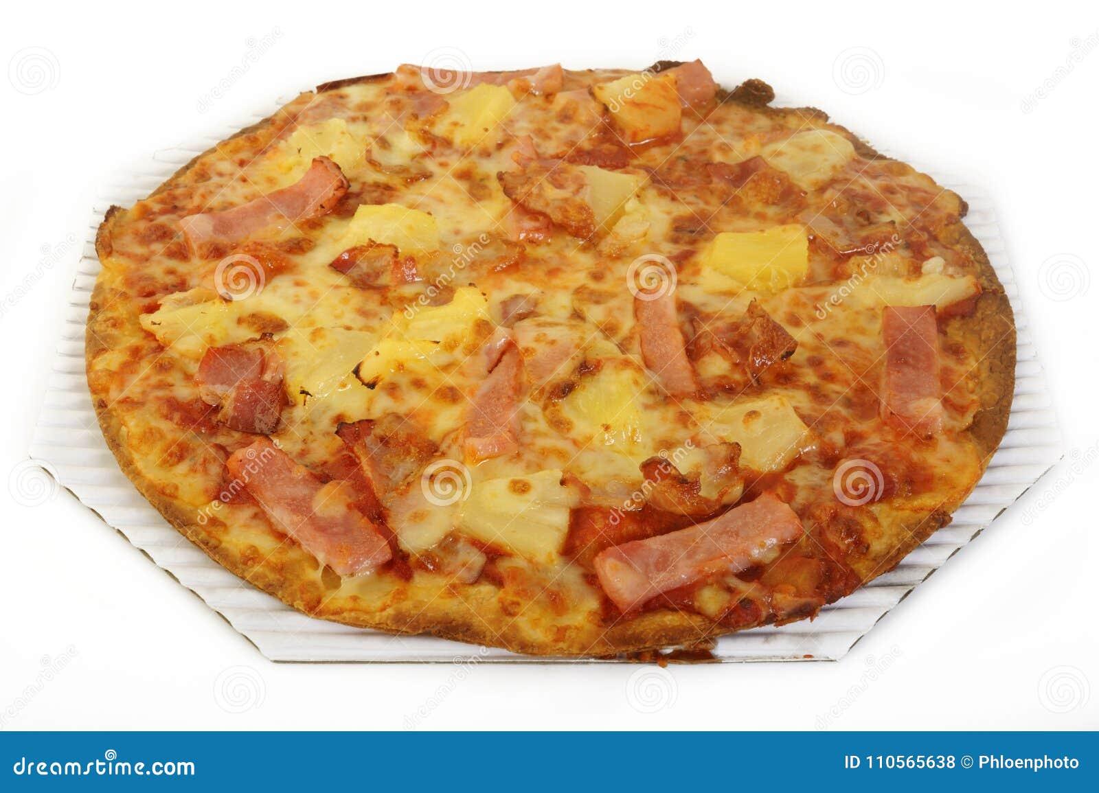 Hawaiian pizza topped