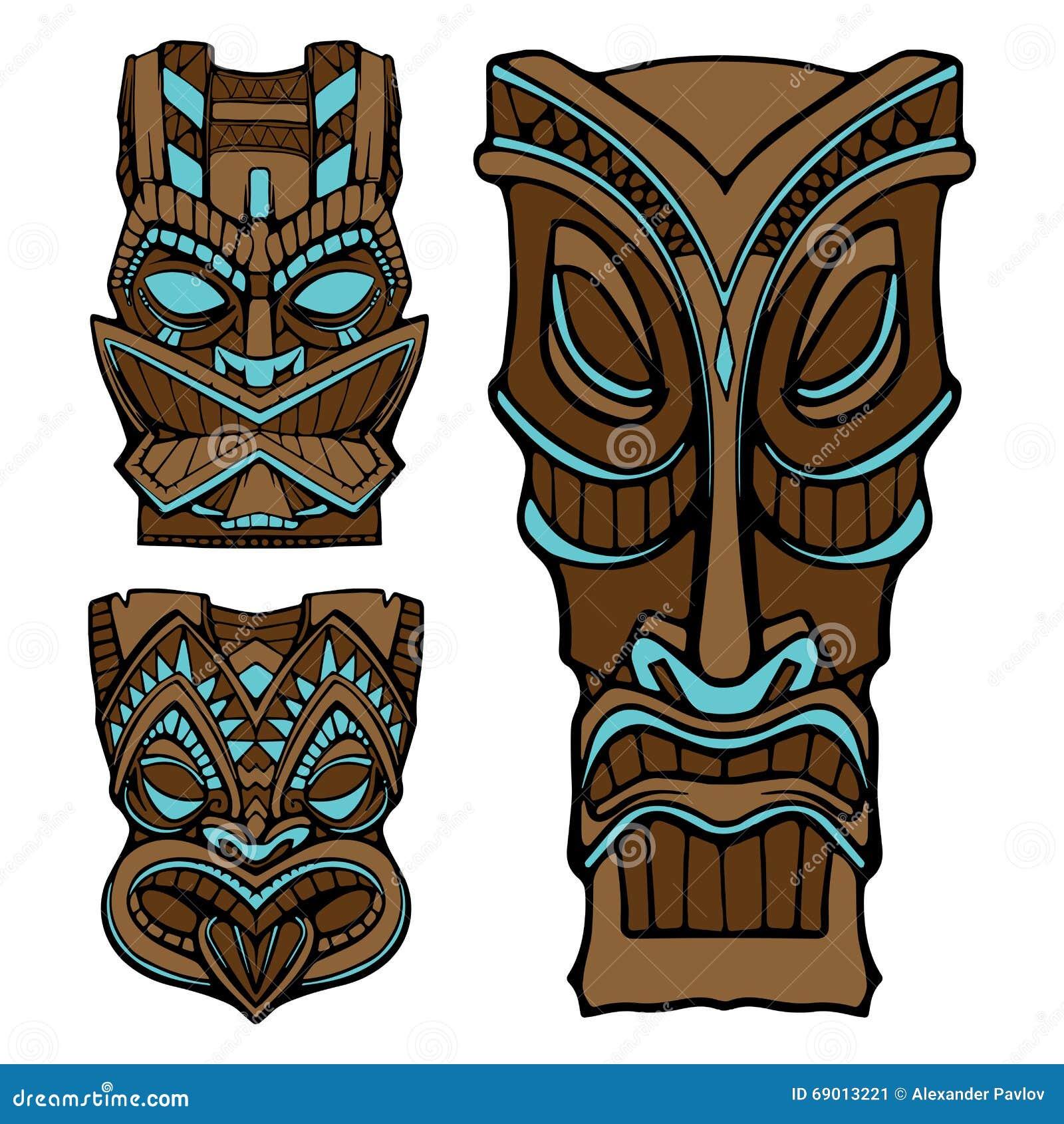 Hawaiian tiki god statue carved wood vector illustration for Tiki hawaiano