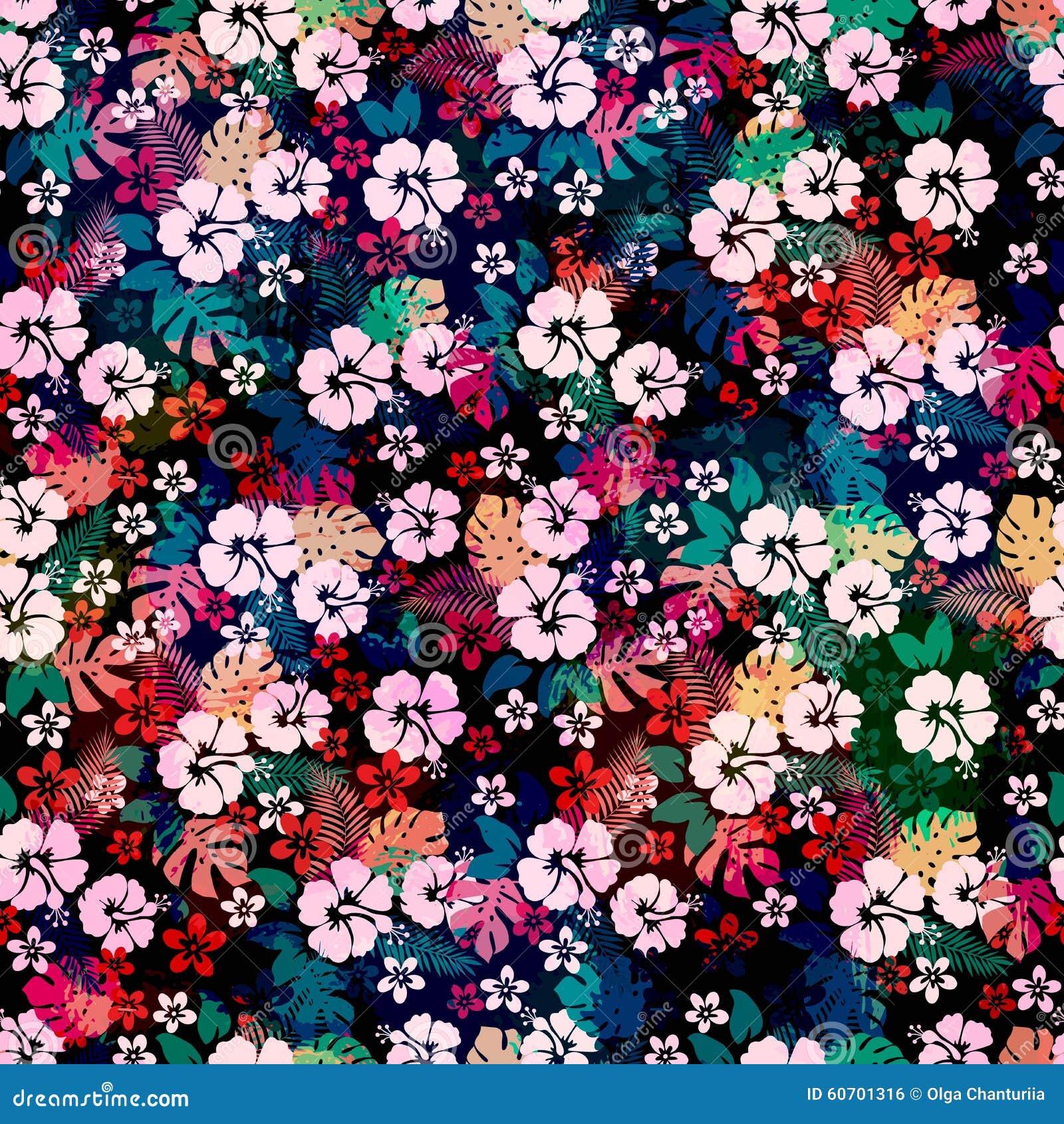 Hawaiian Tropical Floral Seamless Pattern Stock Vector