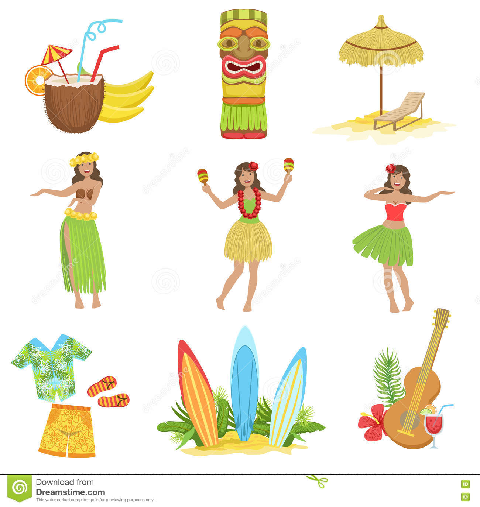Hawaiian Vacation Set Of Classic Symbols Stock Vector Illustration
