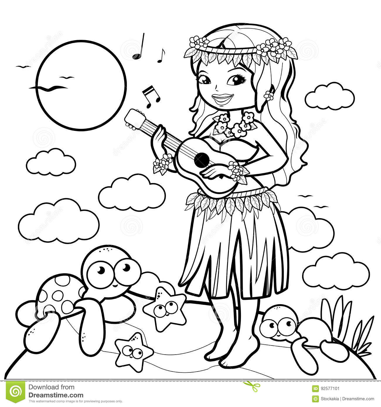 Hula Coloring Pages - Coloring Home | 1390x1300