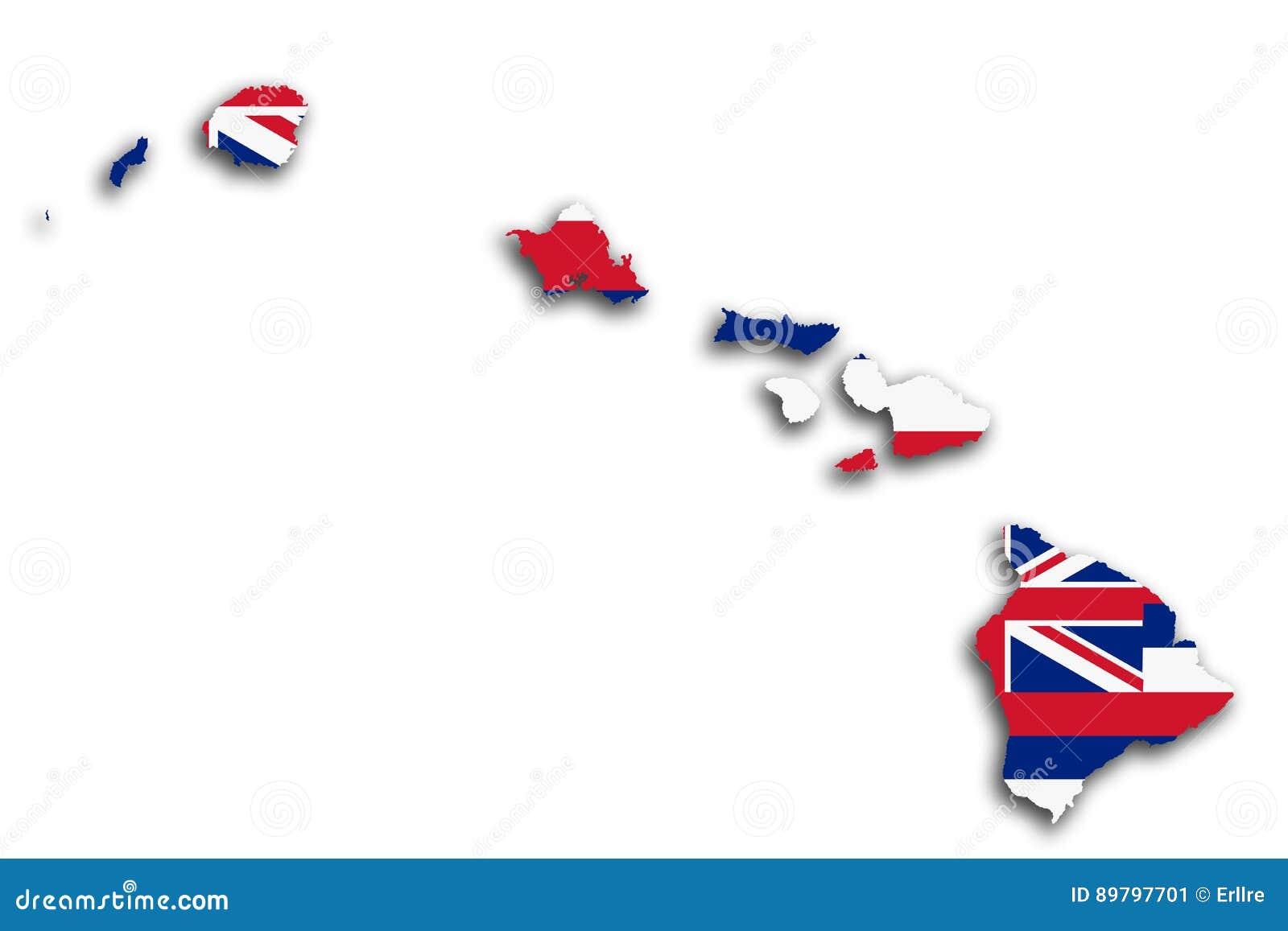 Hawaje flaga i mapa
