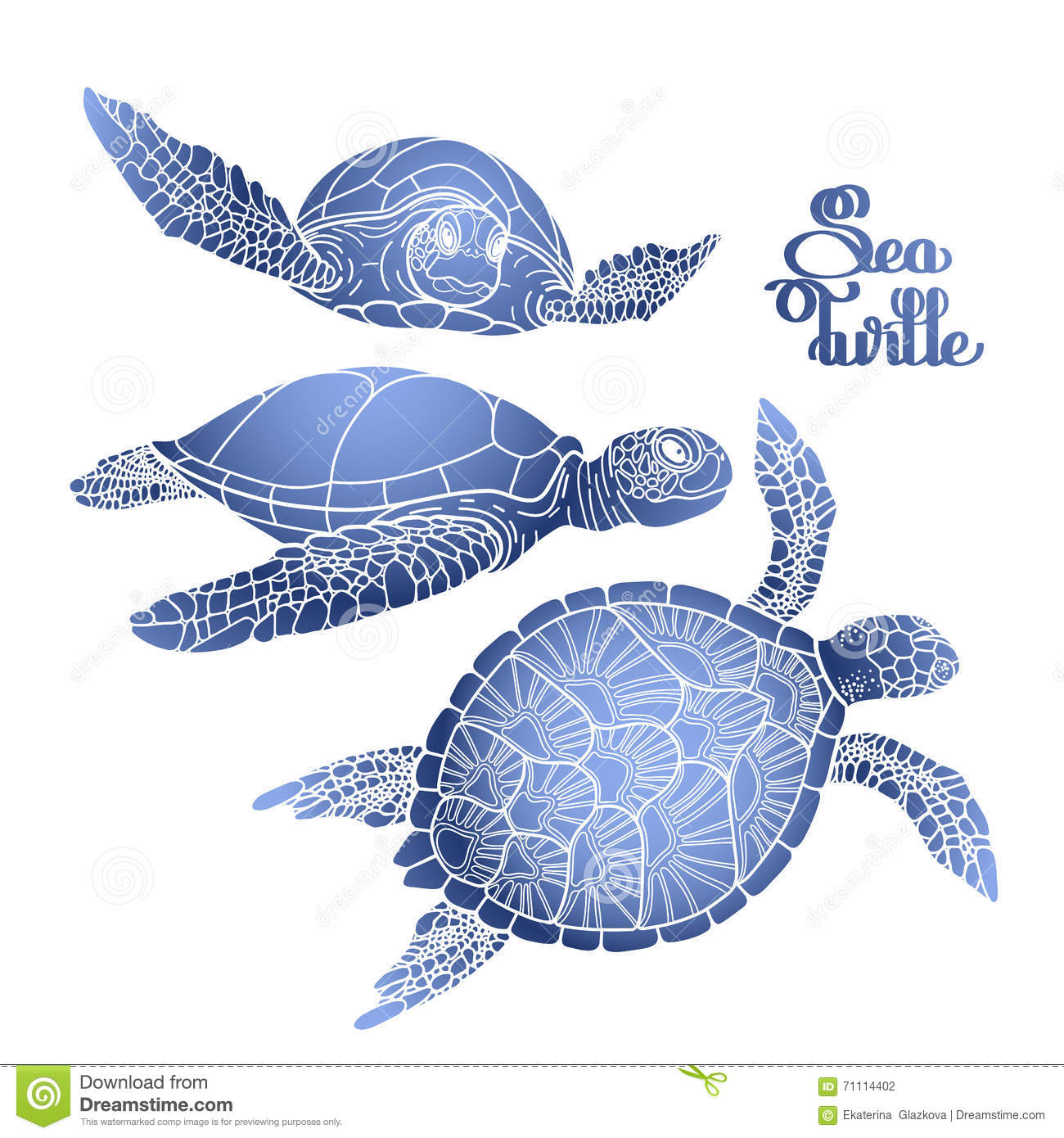 Hawksbill Sea Turtle Collection Stock Vector