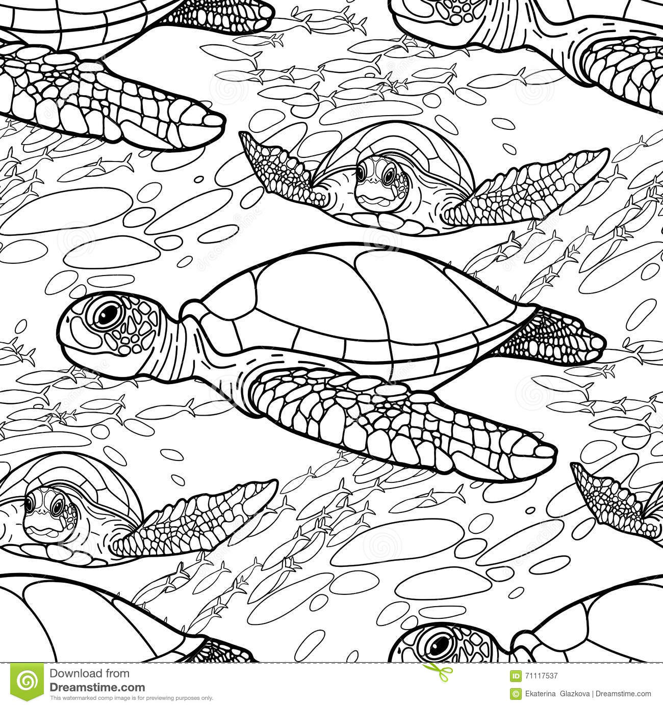 Line Drawing Styles : Hawksbill sea turtle pattern stock vector image