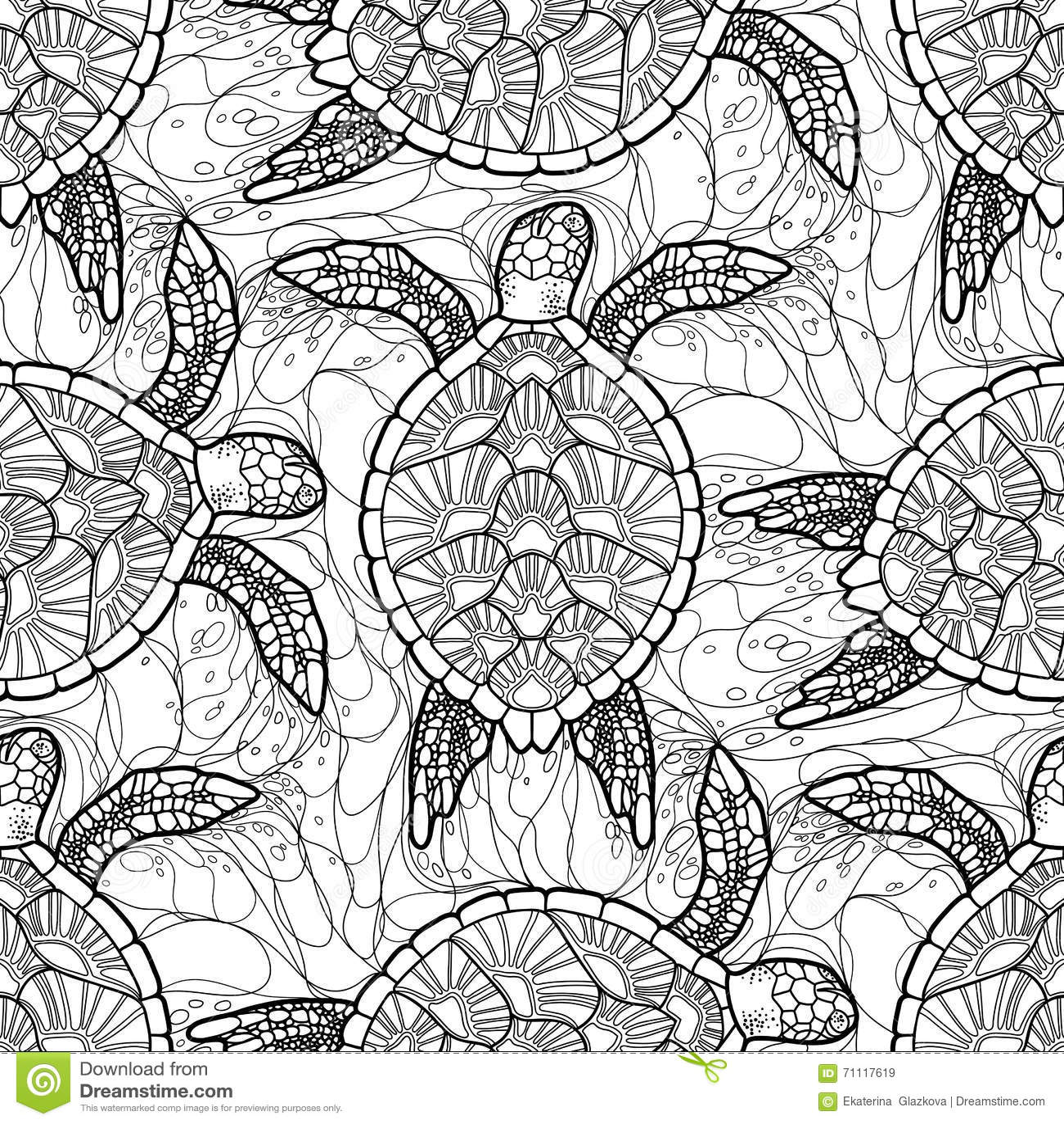 hawksbill sea turtle pattern stock vector illustration of nature