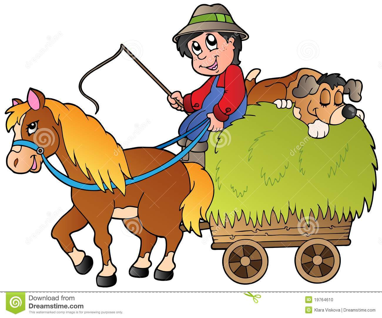 Hay Farmer Tractor Cartoon : Hay cart with cartoon farmer stock vector illustration