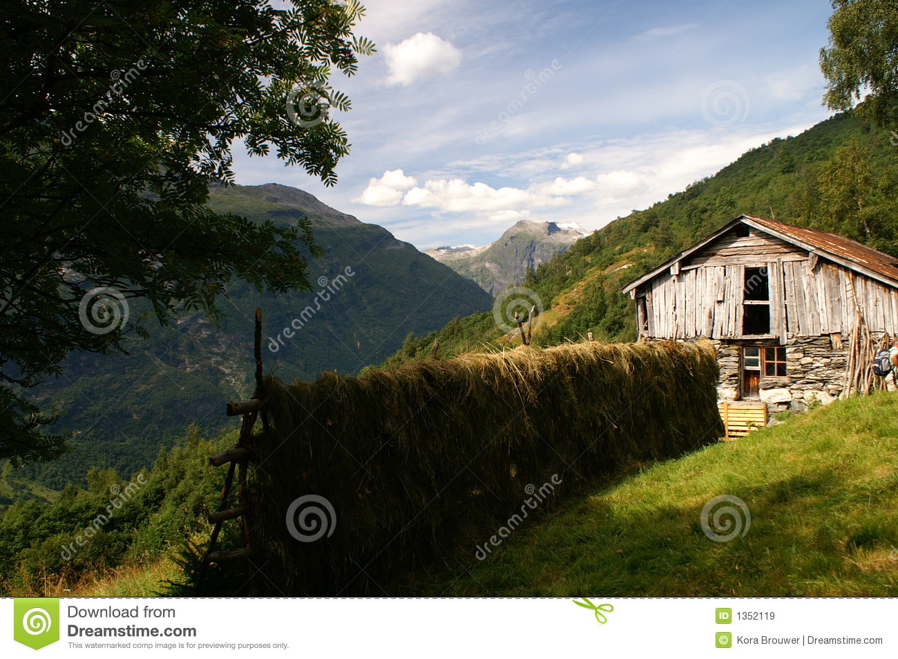 Hay on a rack in the near of Geiranger, Norway