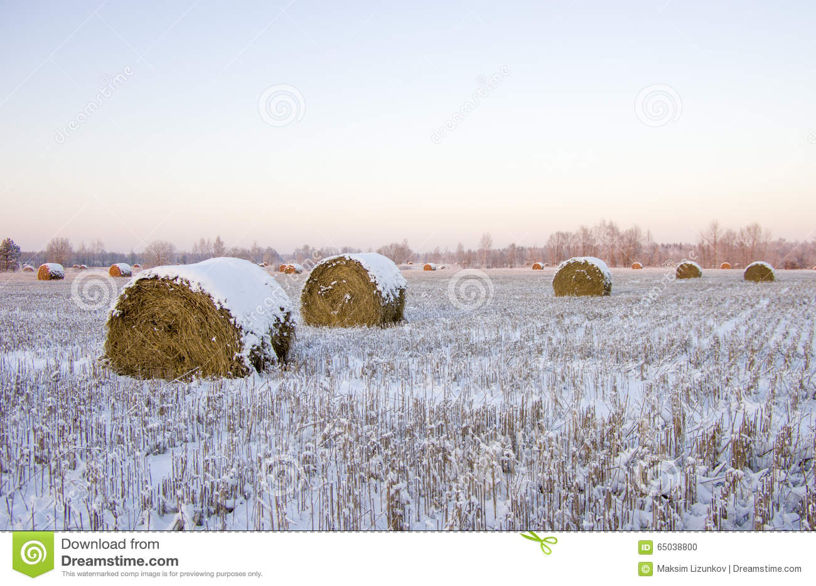 Haystacks на замороженном поле