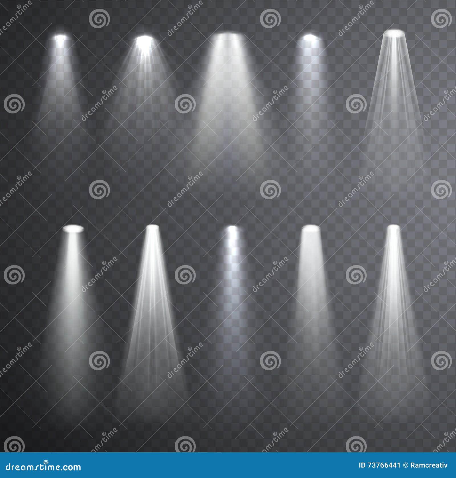 Haz luminoso blanco brillante Efectos luminosos que brillan intensamente aislados sobre control