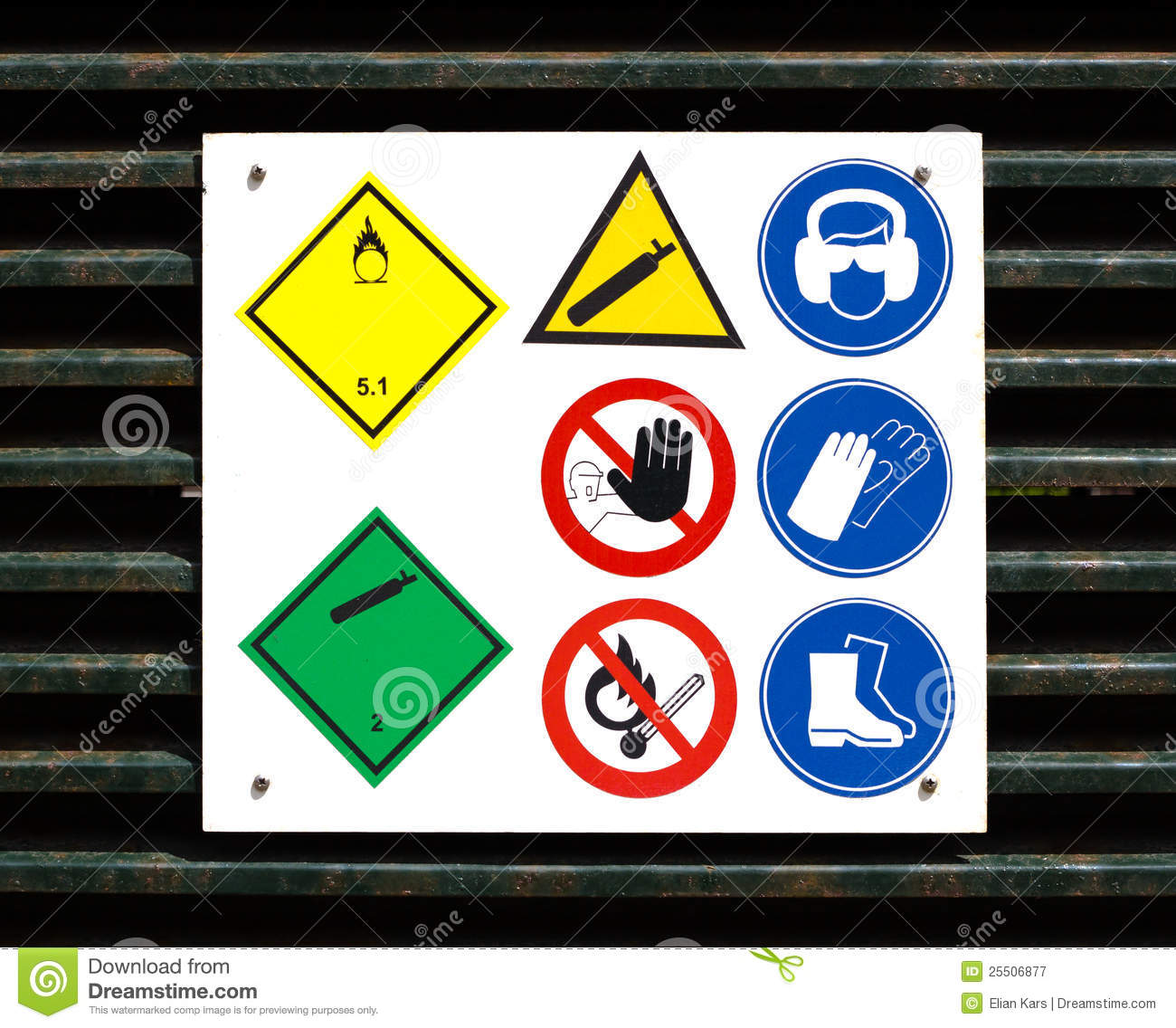 Hazard And Safety Symbols On Door Royalty Free Stock