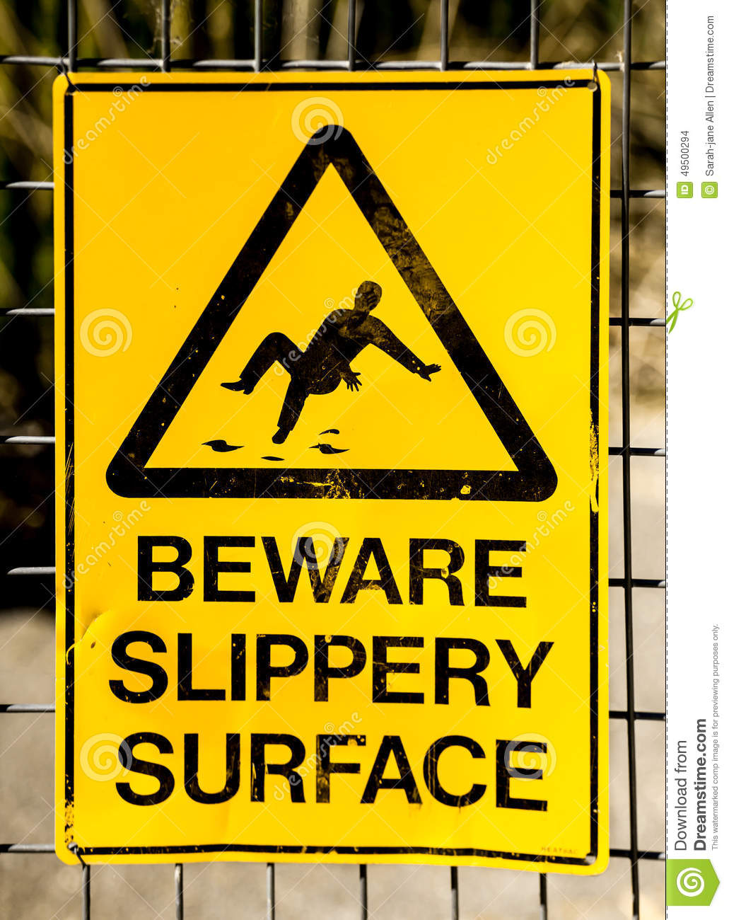 Hazard Sign: BEWARE SLIPPERY SURFACE With Picture Of Man Falling ...