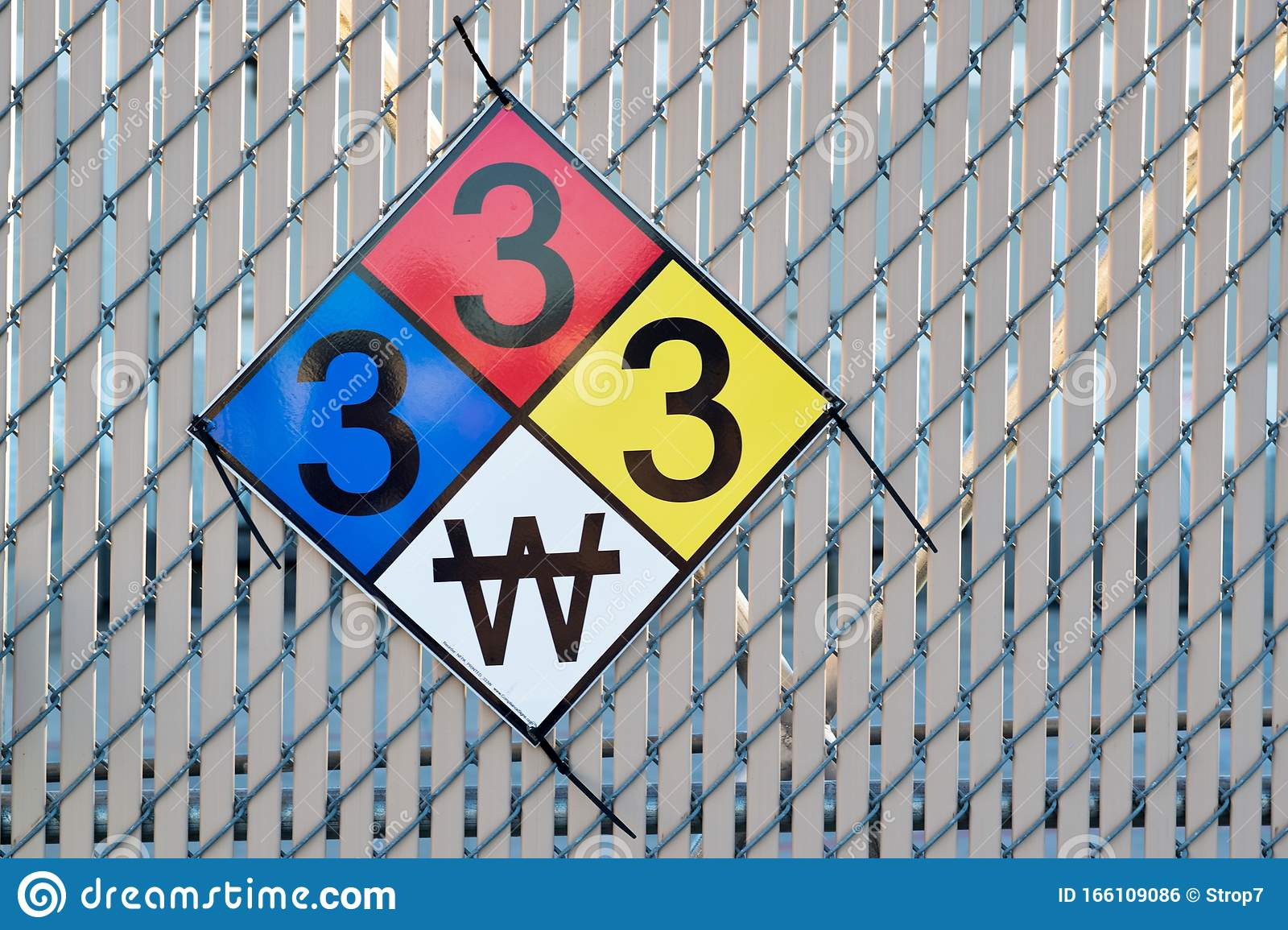 Hazardous Materials Classification Sign On A Fence. Stock ...