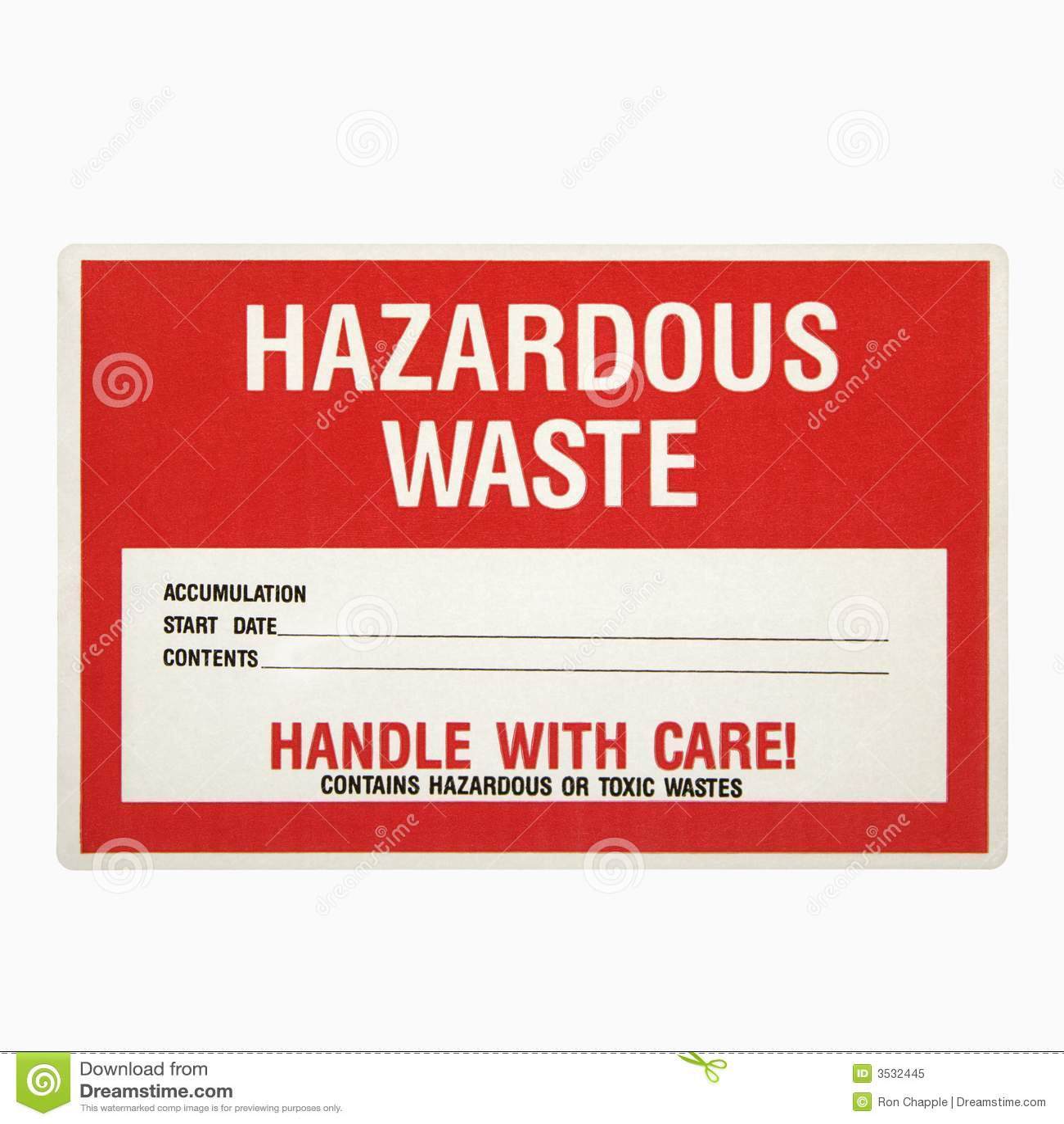 All Hazards Waste Management Planning Wmp Tool: Hazardous Waste Sign. Royalty Free Stock Photo