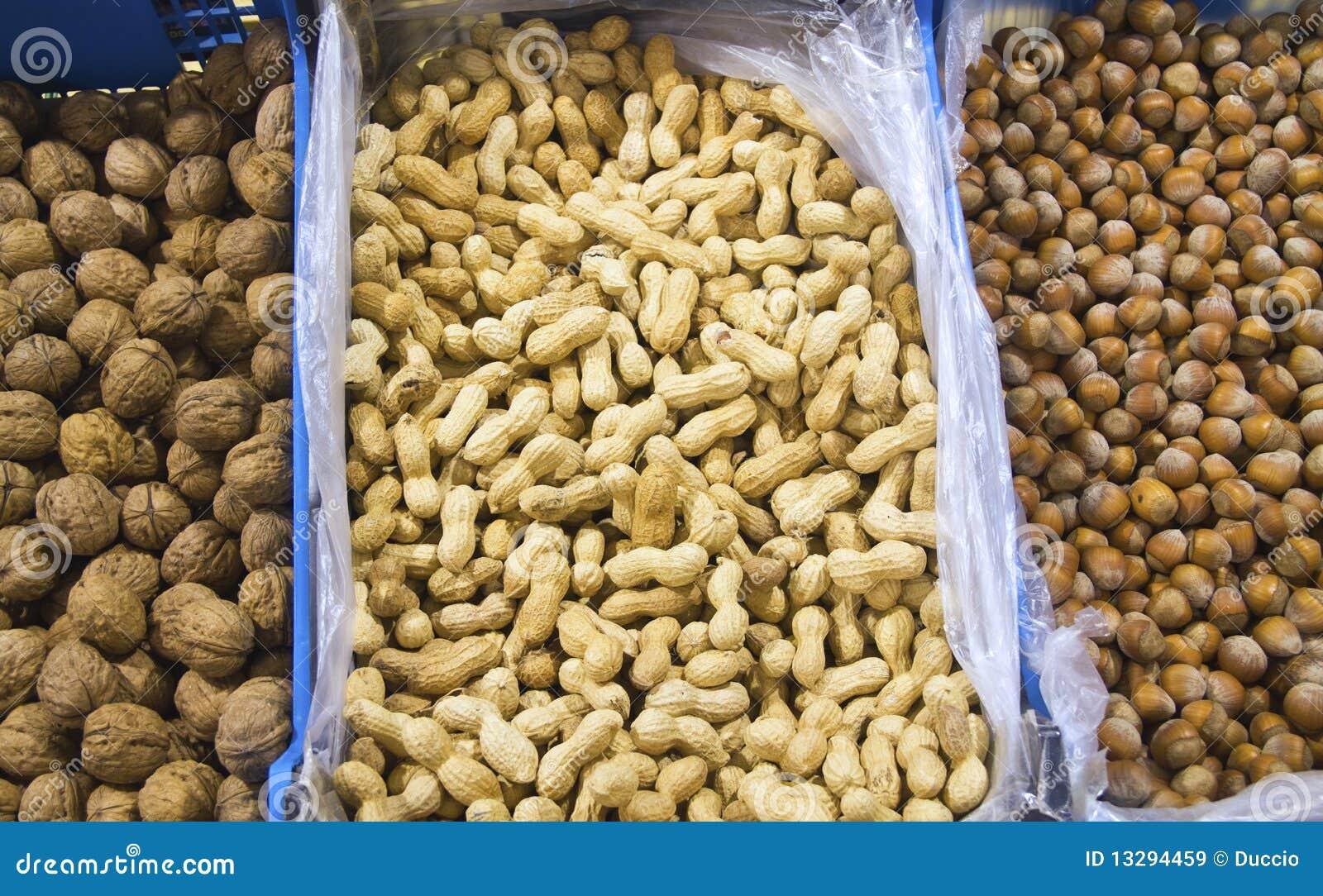 Hazel nuts and peanuts