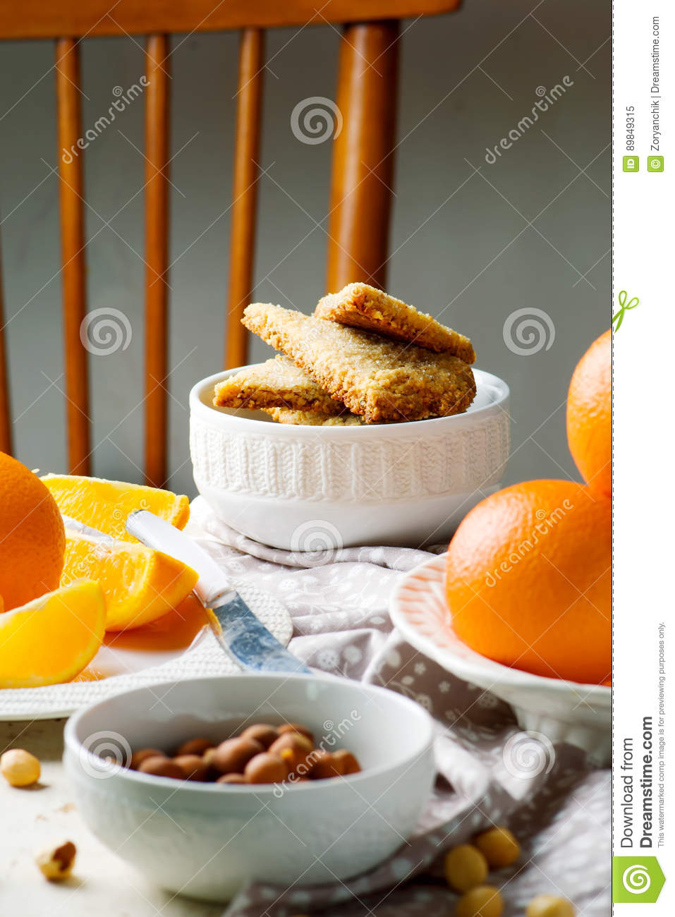 Hazelnut Orange Shortbread.style Rustic Stock Photo - Image: 89849315