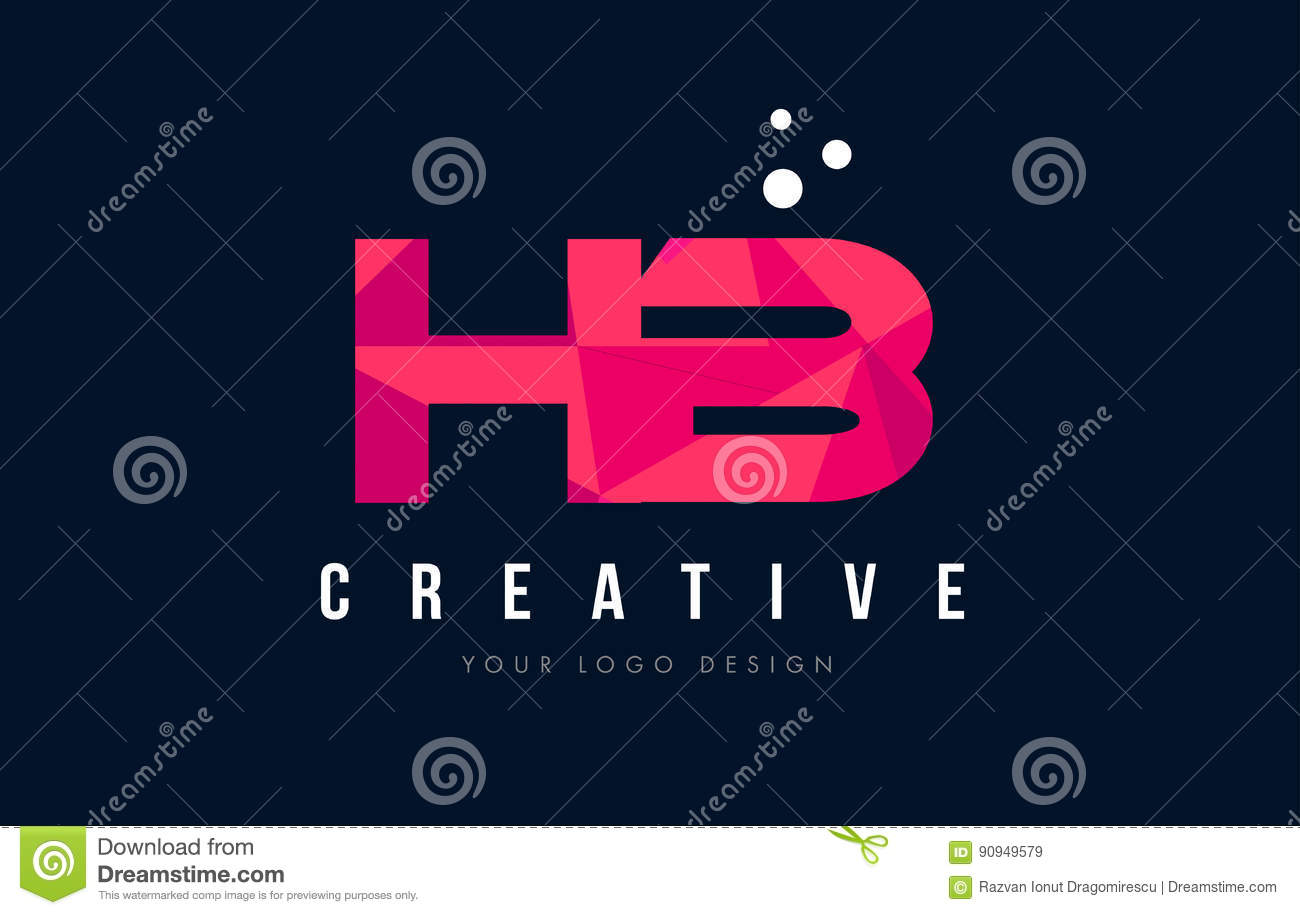 hb h b letter logo with purple low poly pink triangles concept stock vector illustration of. Black Bedroom Furniture Sets. Home Design Ideas