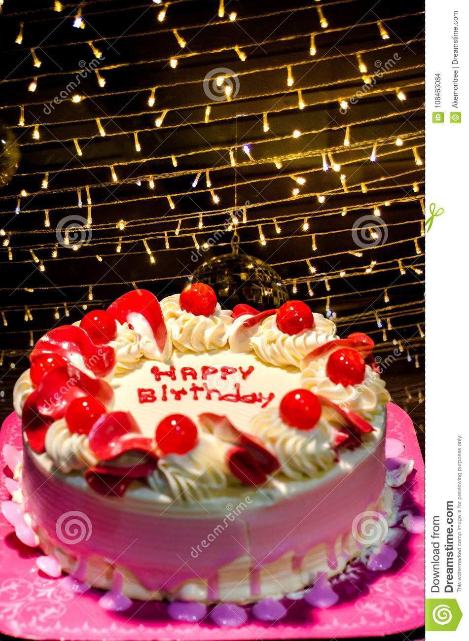 Hbd Cake In Pink White Tone Decorate By Happy Birthday Words In
