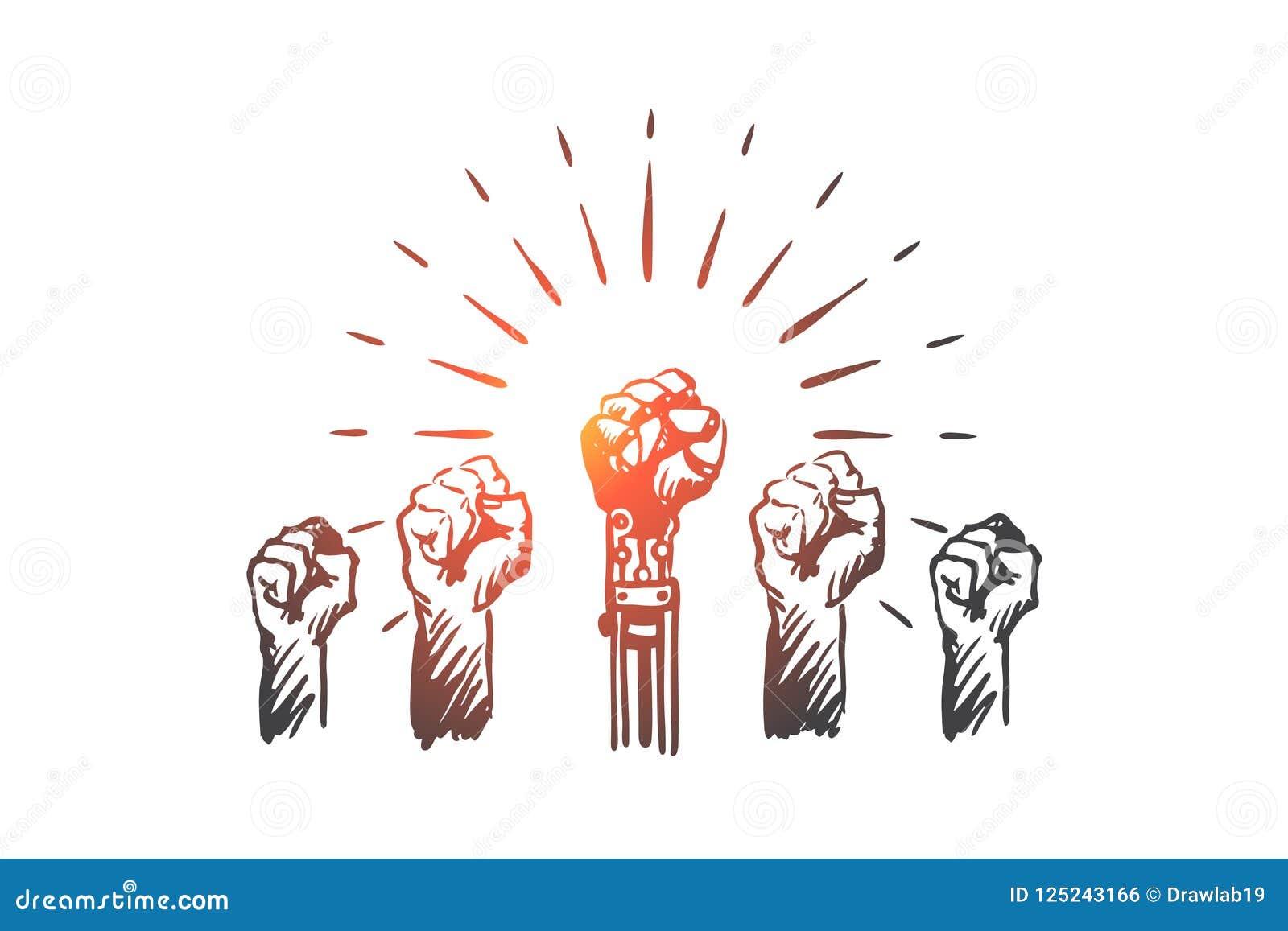 HCI, automatização, tecnologia, equipe, conceito da liderança Vetor isolado tirado mão