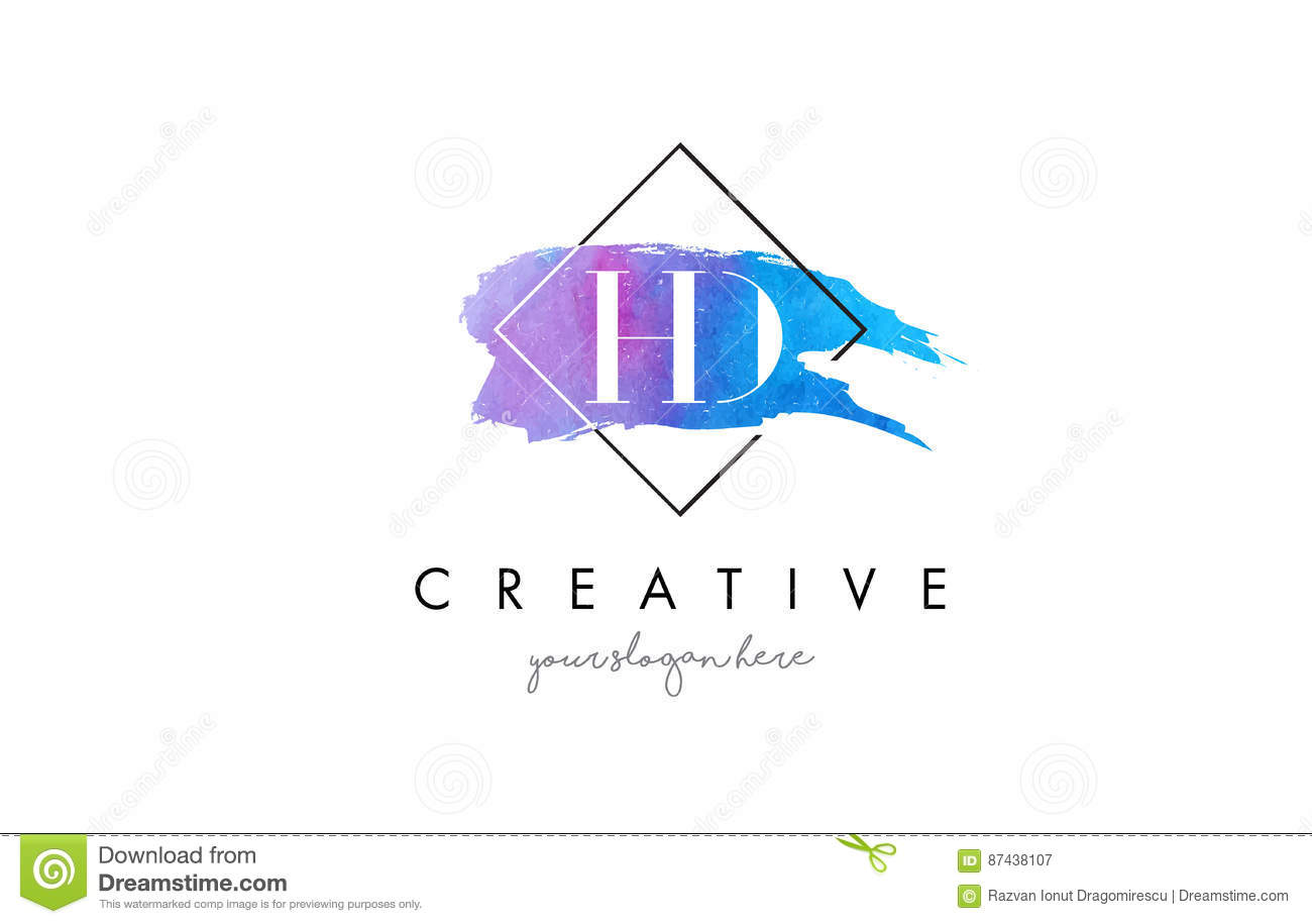 HD Artistic Watercolor Letter Brush Logo.