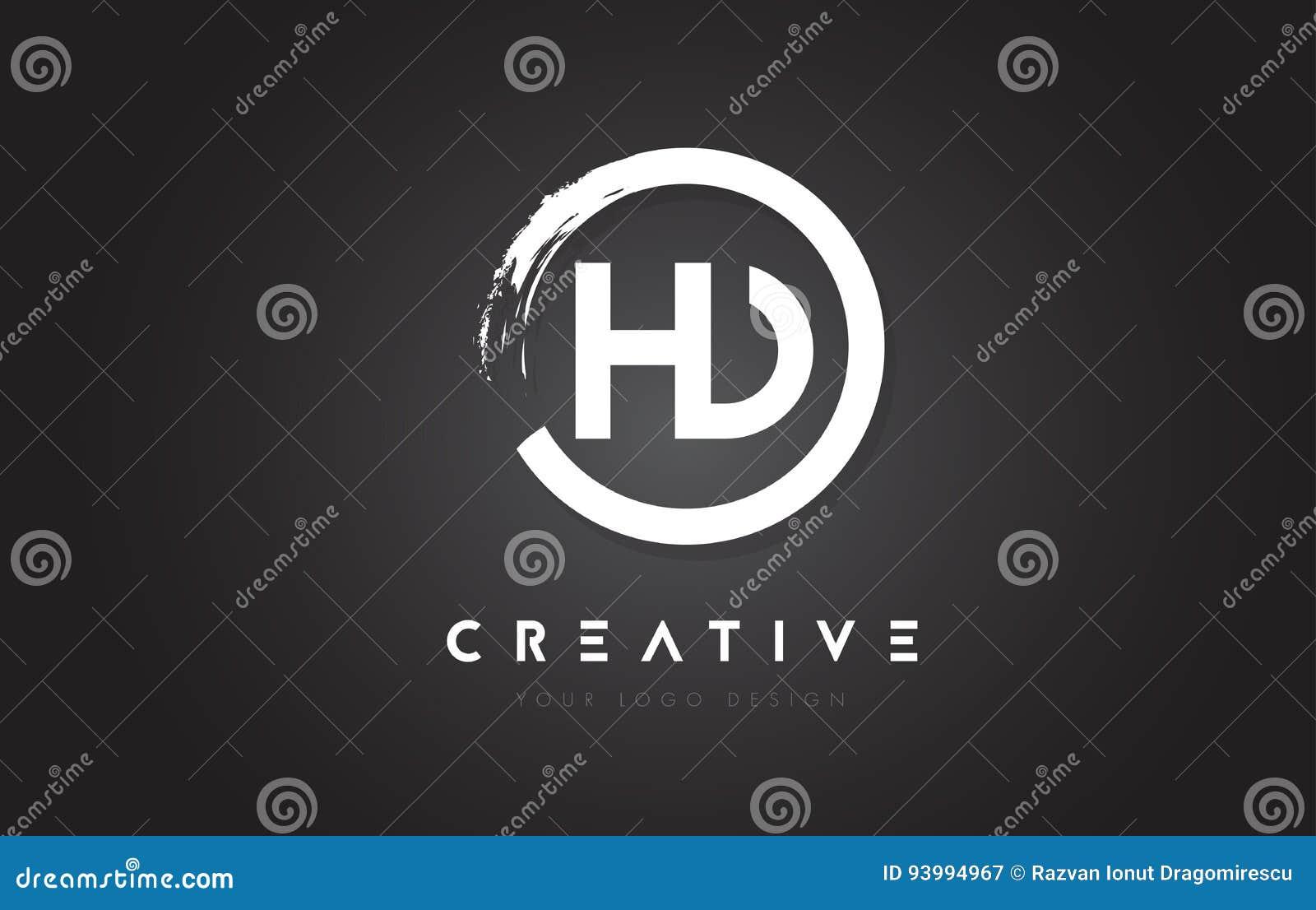 Hd Circular Letter Logo With Circle Brush Design And Black Backg