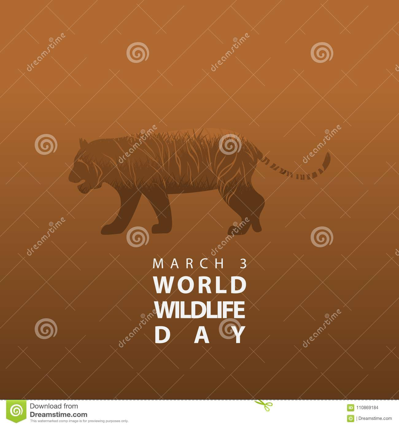 Hd Grass In Tiger Silhouette World Wildlife Day Poster Or
