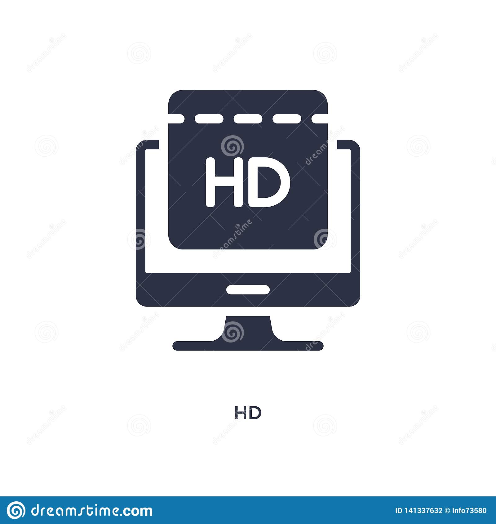 Hd Ikone auf weißem Hintergrund Einfache Elementillustration vom Kinokonzept