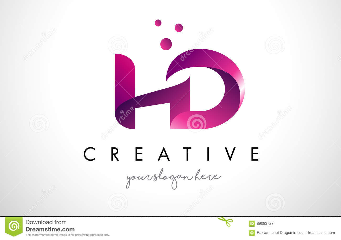 Hd letter logo design with purple colors and dots stock vector hd letter logo design with purple colors and dots thecheapjerseys Gallery