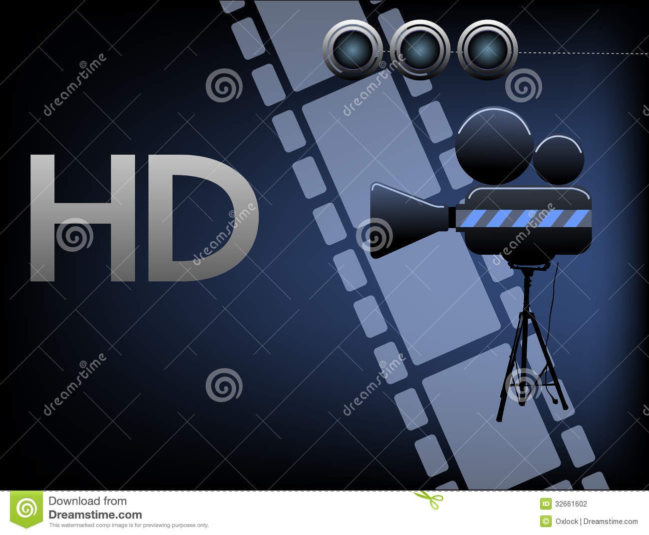 Abstract colorful background with movie projector, filmstrip and the