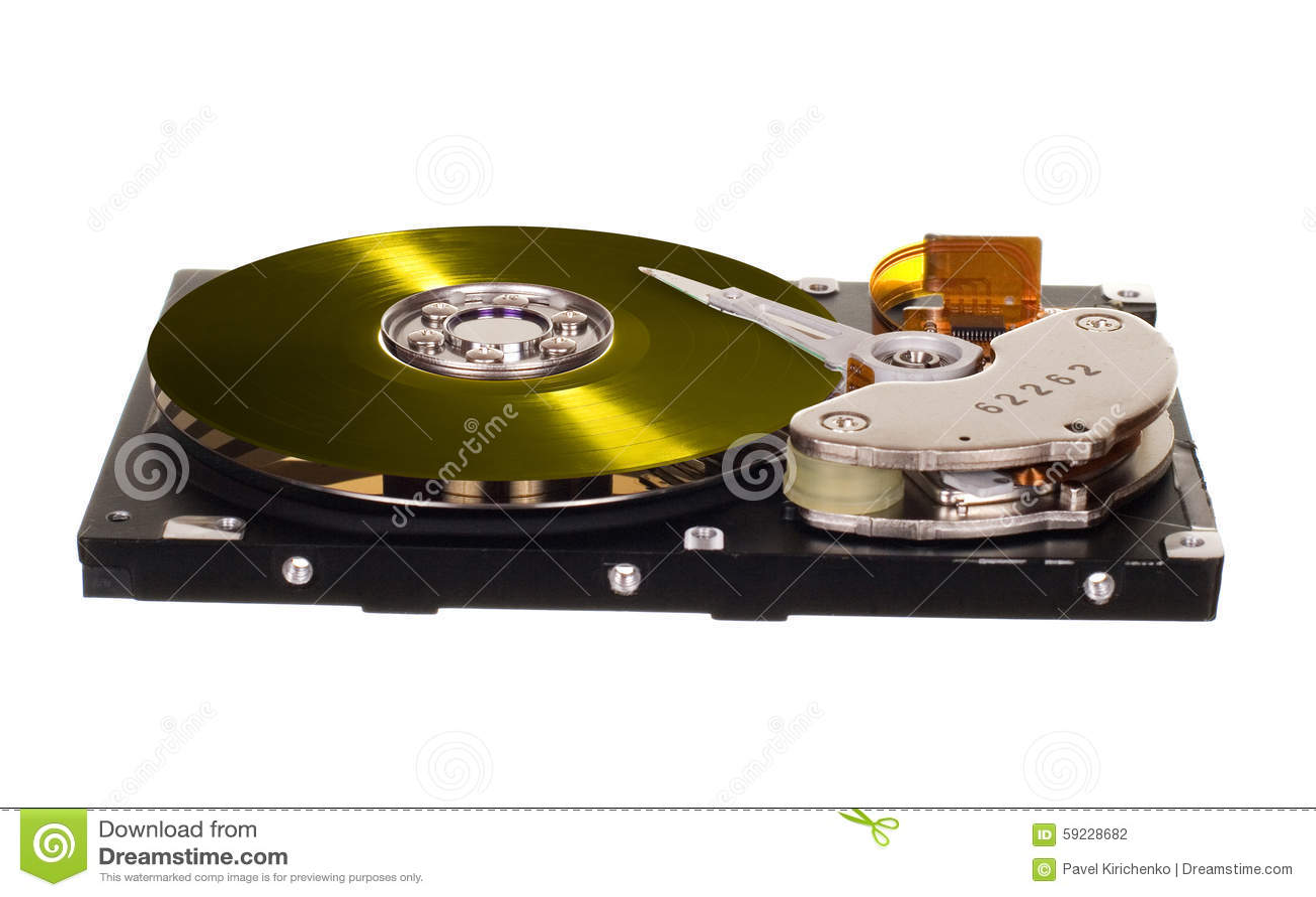 HDD con el disco amarillo del vinilo en vez de con metalizado magnético