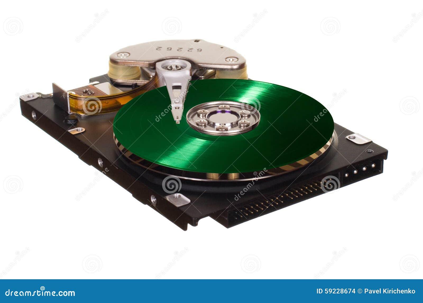 HDD con el disco verde del vinilo en vez de con metalizado magnético