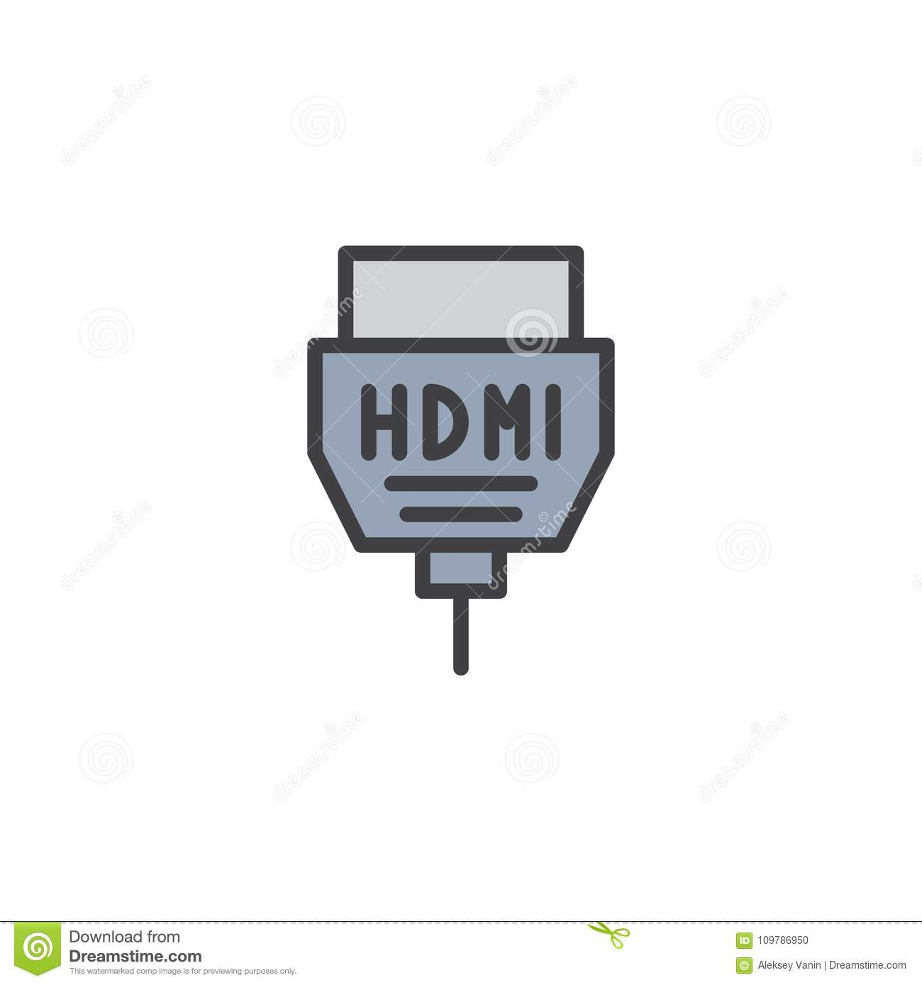 Hdmi Cable Filled Outline Icon Stock Vector Illustration Of