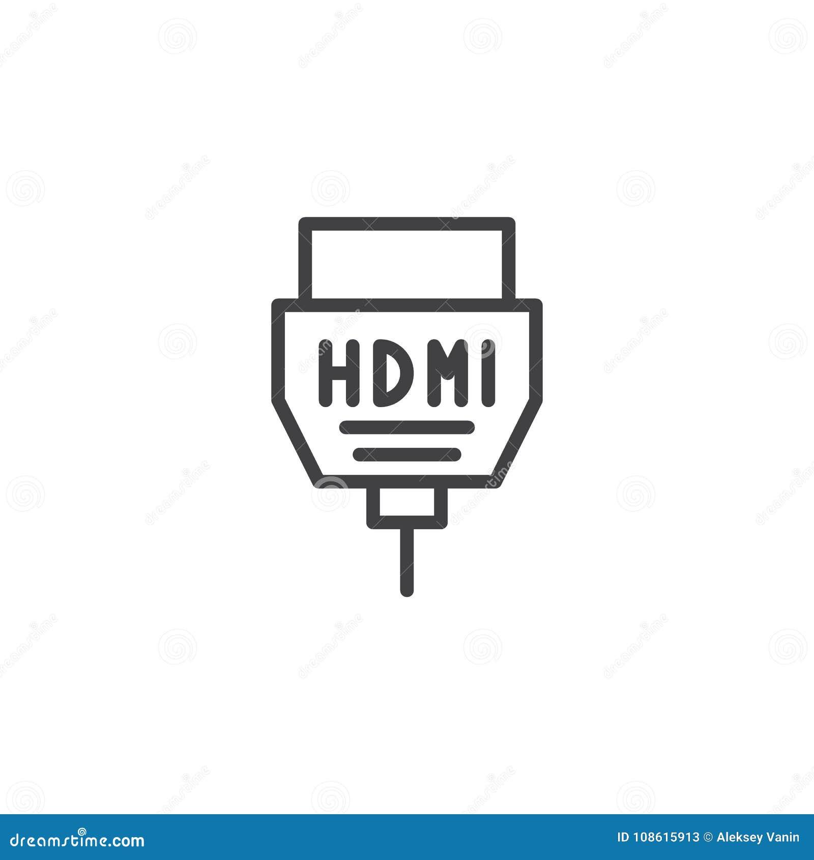 Hdmi Cable Line Icon Stock Vector Illustration Of Design 108615913