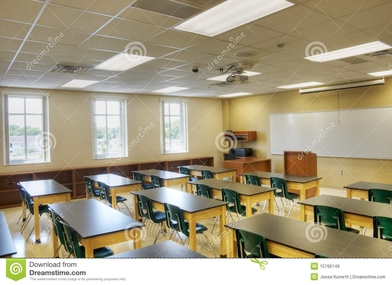 Hdr of interior of classroom stock image image 15766149 for Interior decorating school dallas