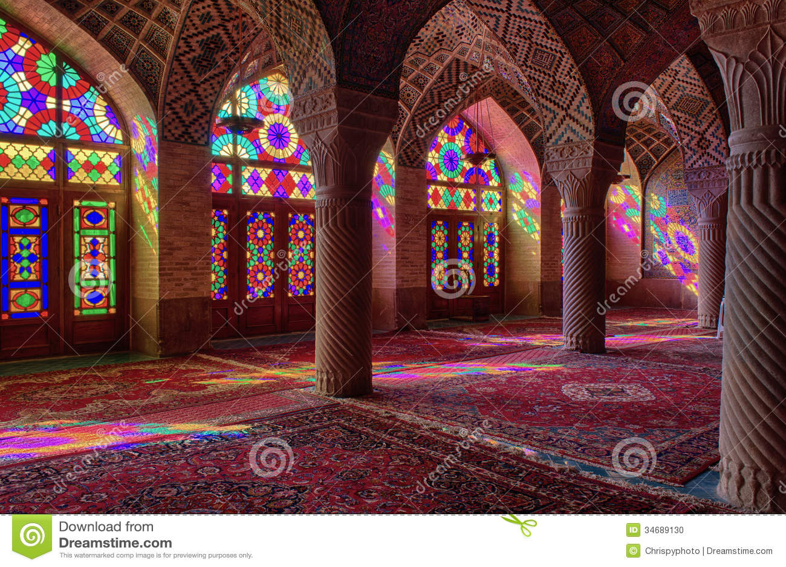 HDR of Nasir al-Mulk Mosque in Shiraz, Iran