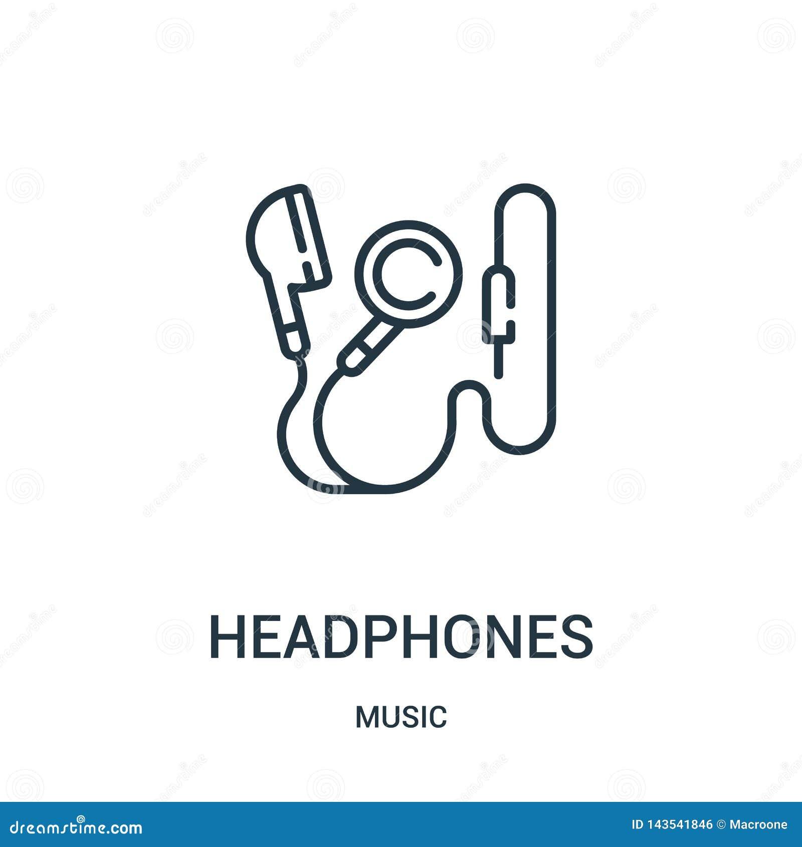 Hełmofon ikony wektor od muzycznej kolekcji Cienka kreskowa hełmofonu konturu ikony wektoru ilustracja