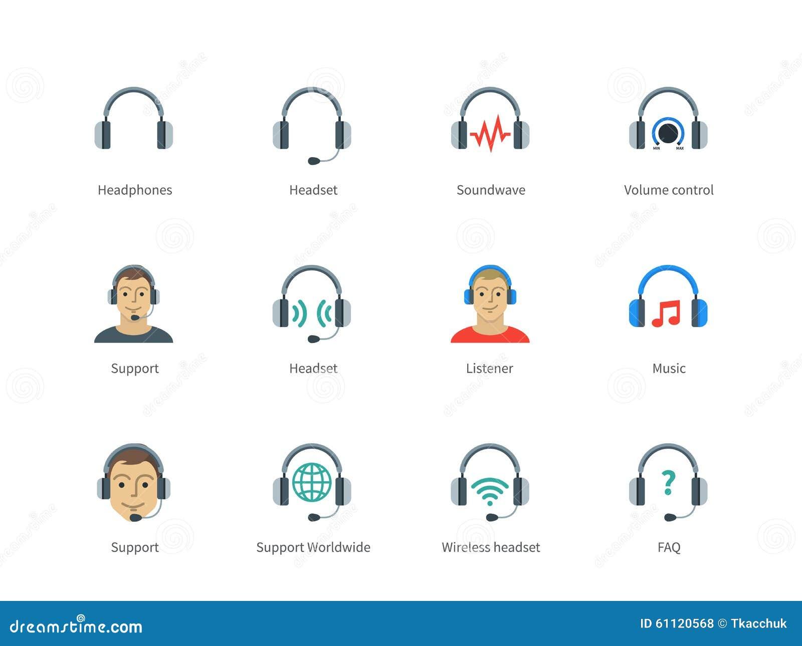Hełmofony i słuchawki koloru ikony na bielu