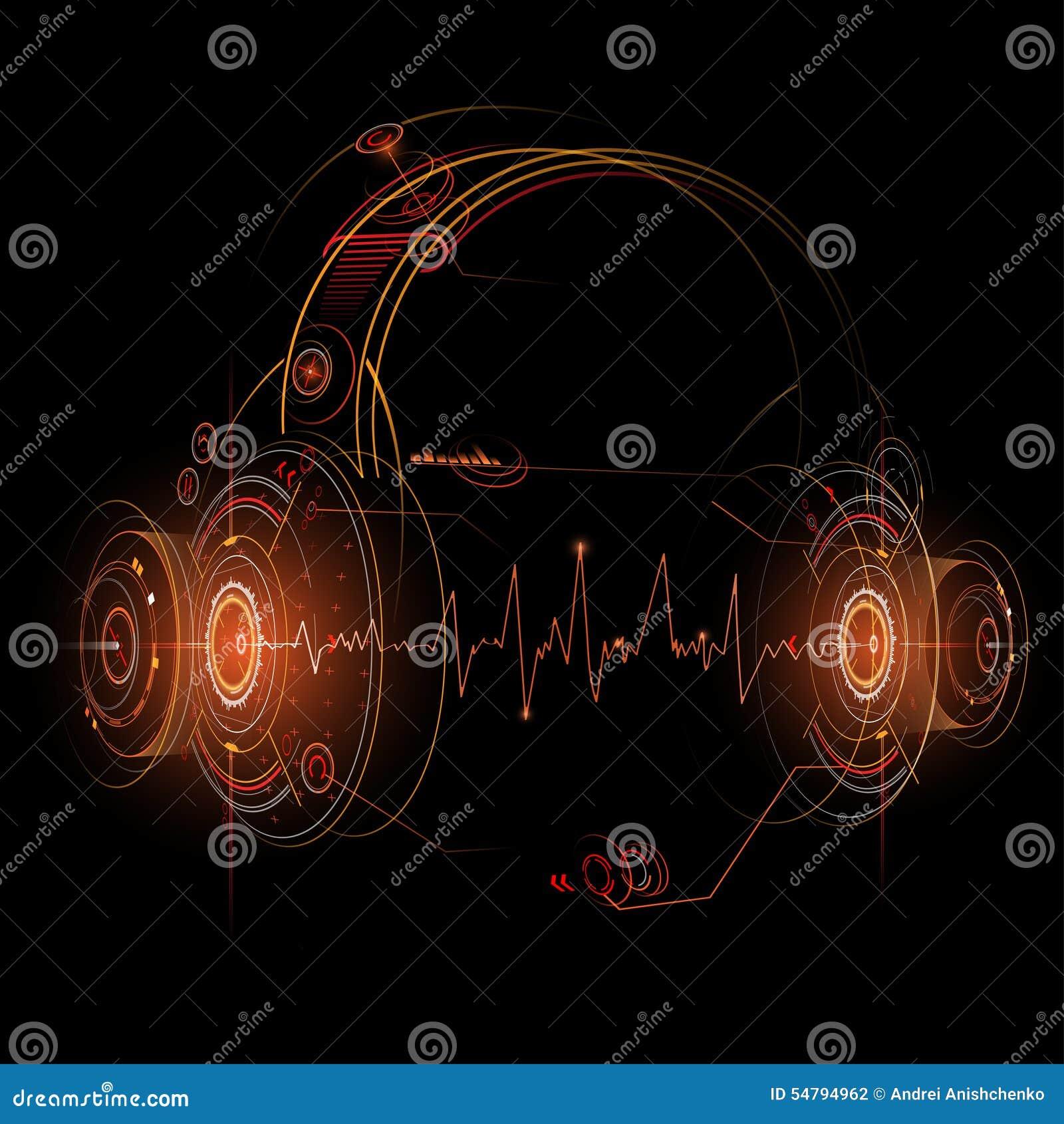 Hełmofony ilustracyjni z rozsądnej fala rytmami