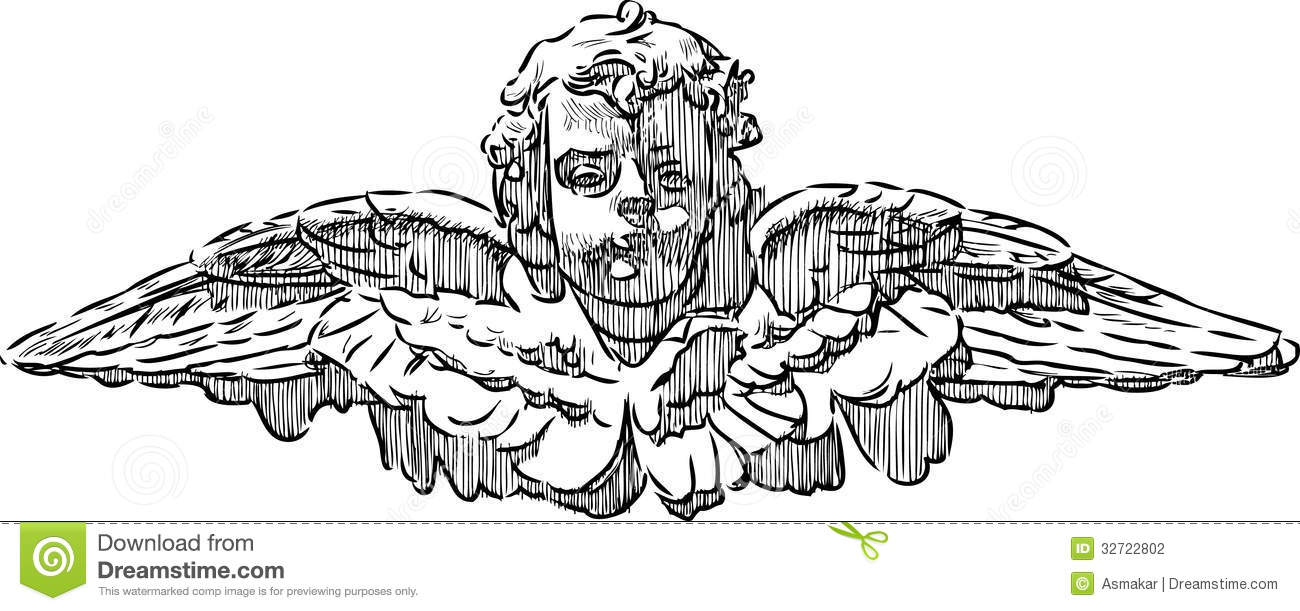 head of an angel stock vector image of praying white