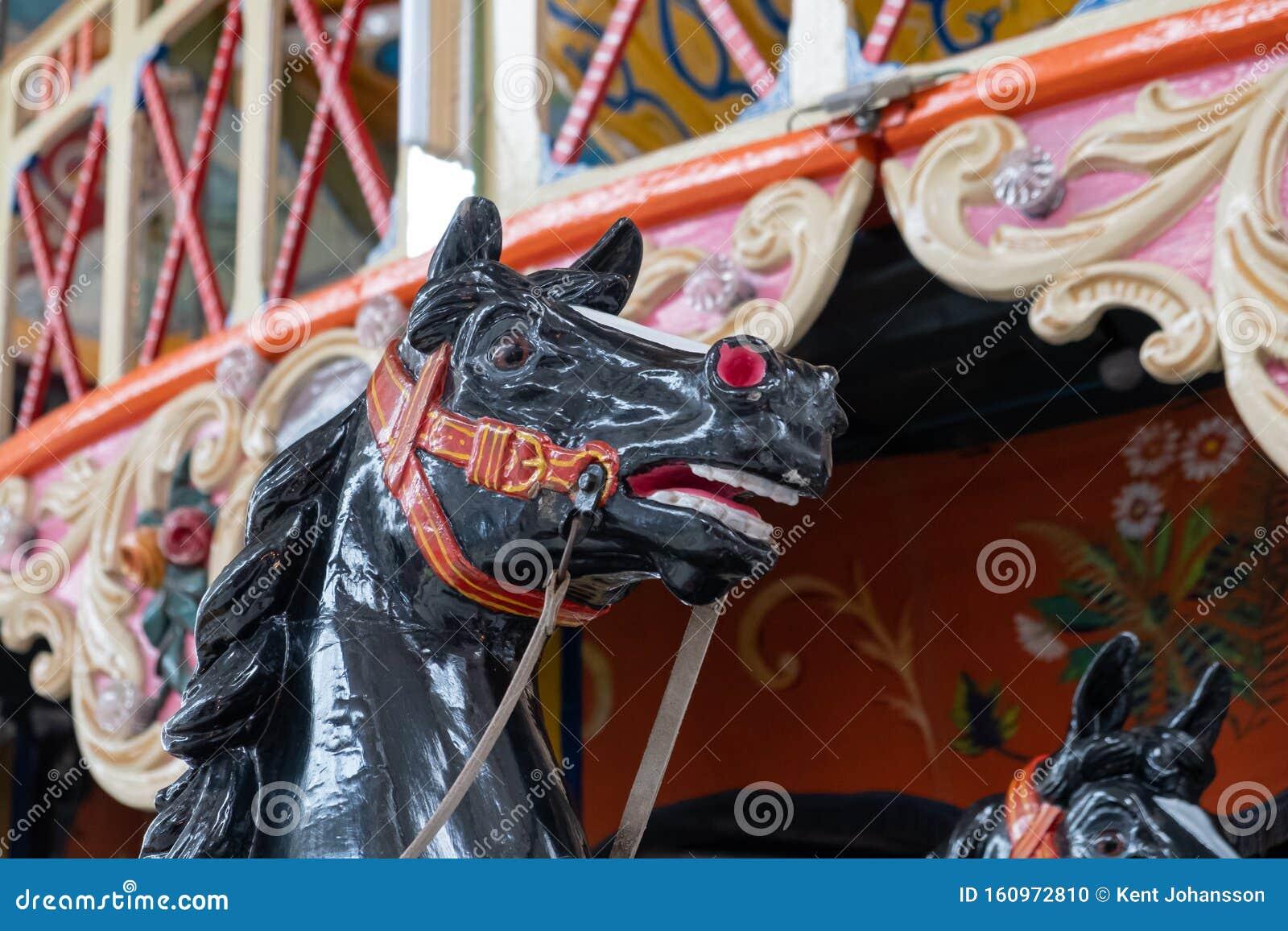 Head Of Black Carousel Horse Stock Photo Image Of Children Memories 160972810