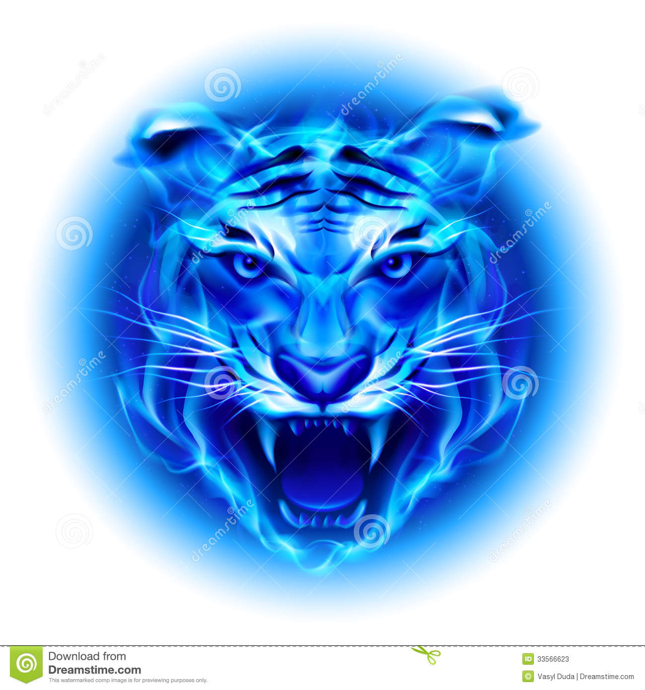 Head Of Blue Fire Tiger. Stock Photos - Image: 33566623