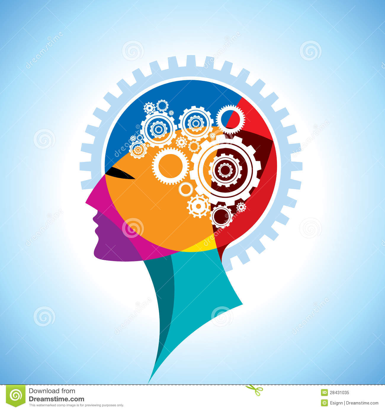 Head And Brain Gear Royalty Free Stock Photo - Image: 28431035