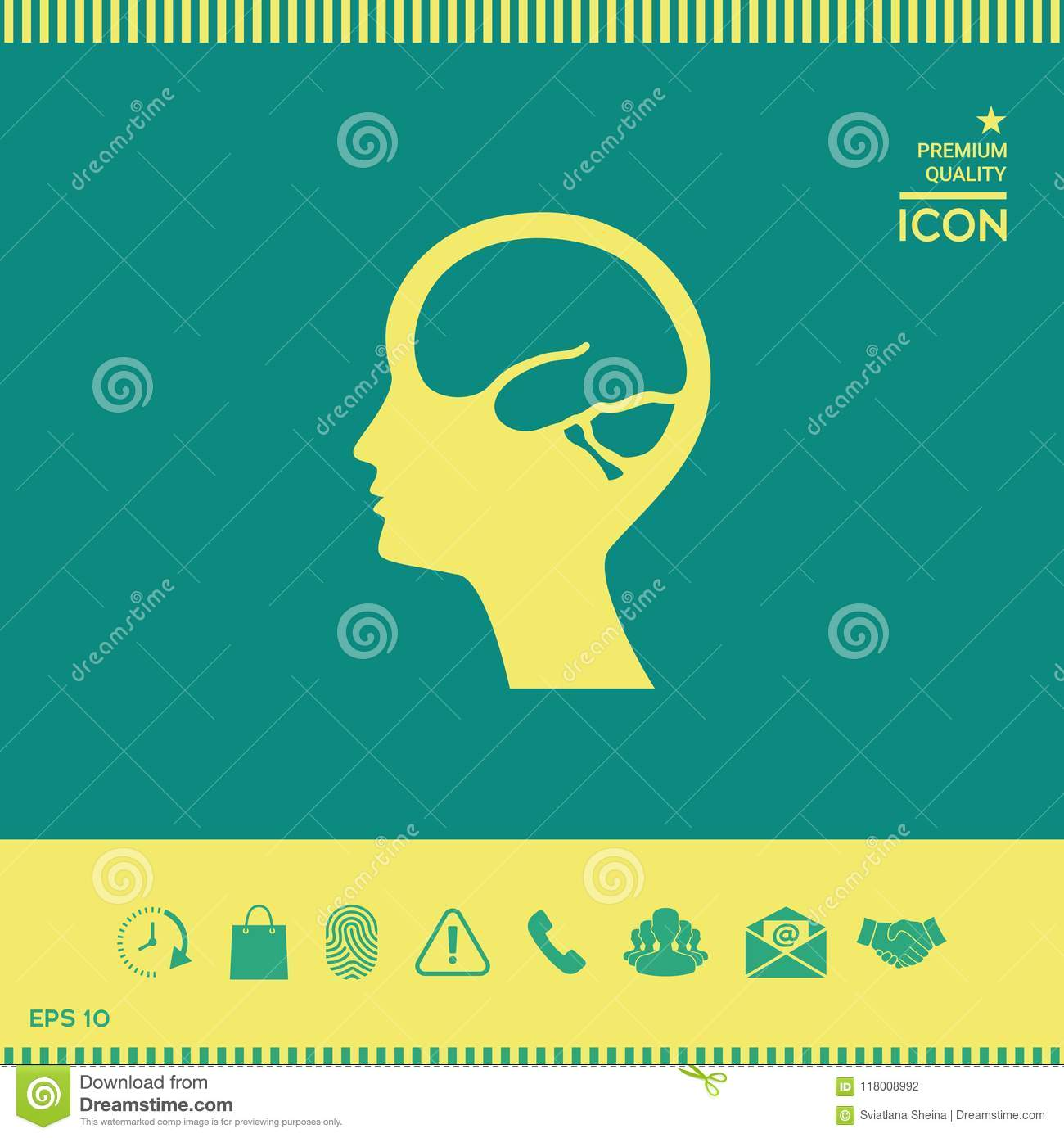 Head With Brain Symbol Icon Stock Vector Illustration Of