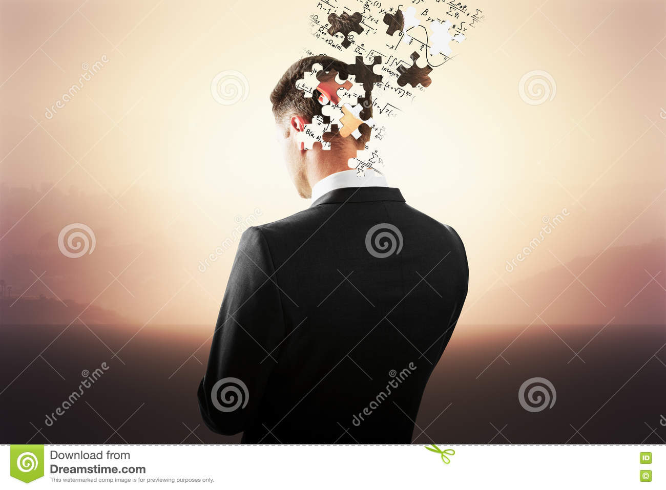 head breaking into puzzle pieces stock photo image of choice