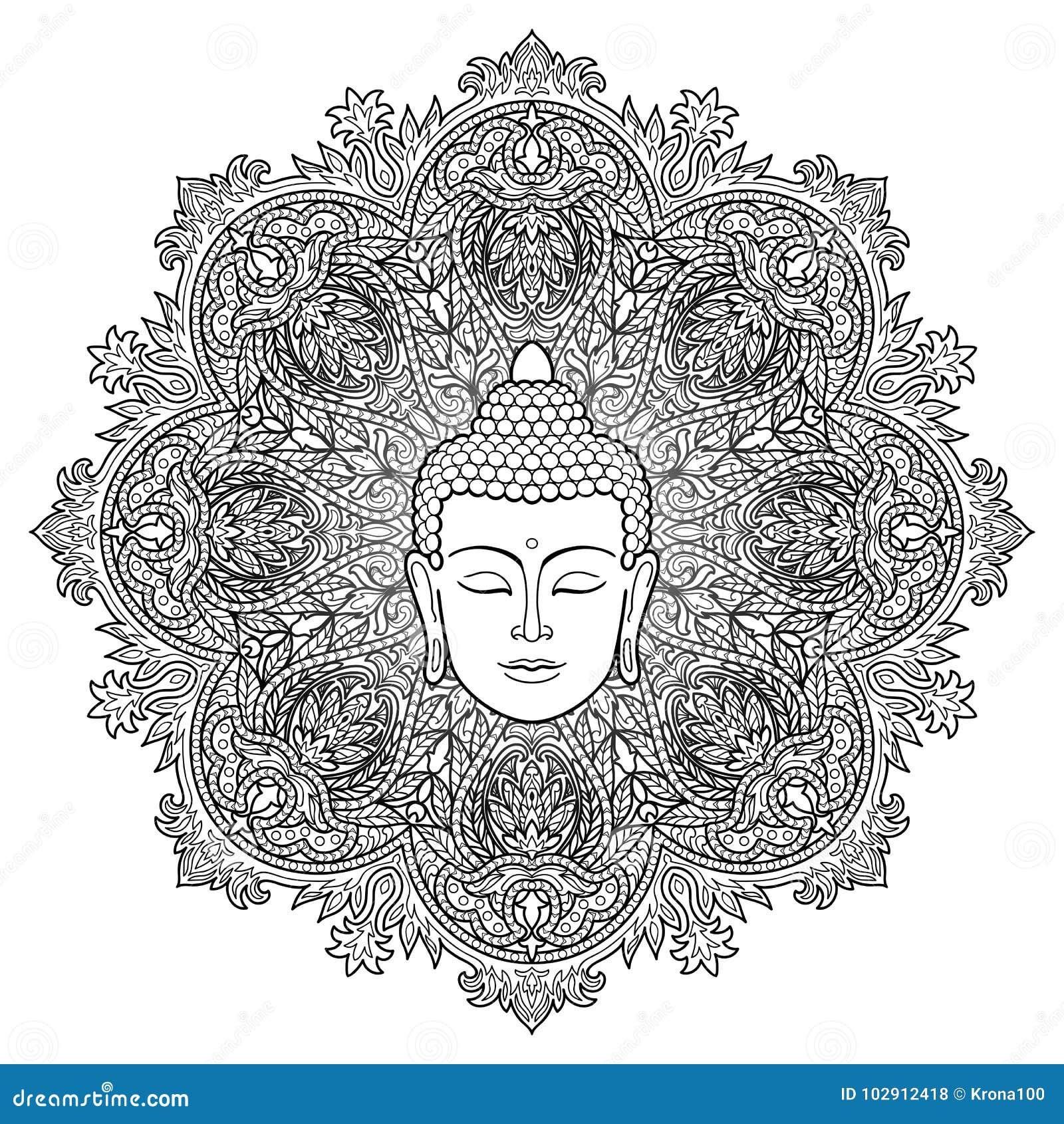 Buddha Mandala Coloring Page Stock Vector - Illustration of black ...