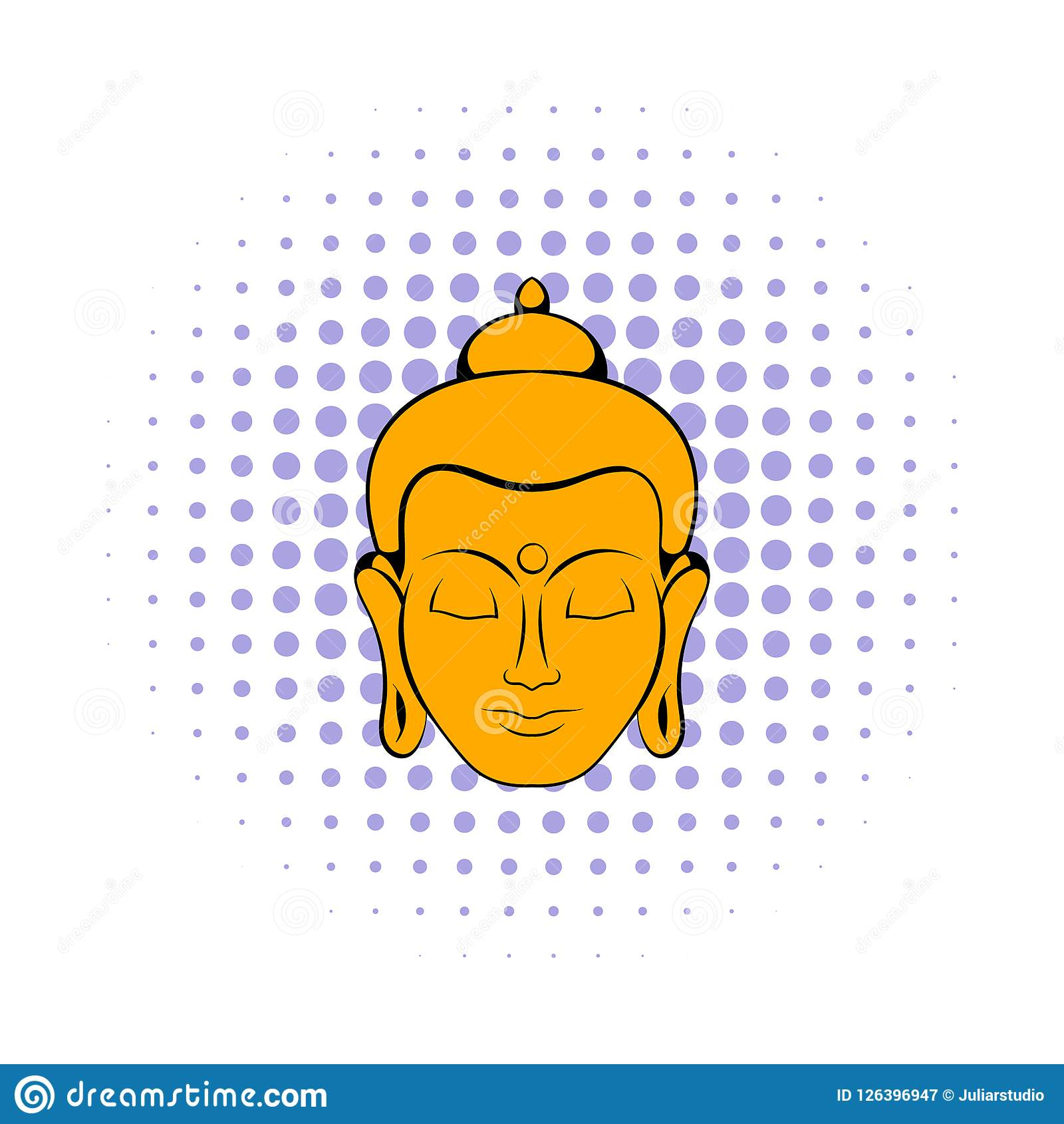 2c6d3813108 Head of Buddha icon in comics style on a white background