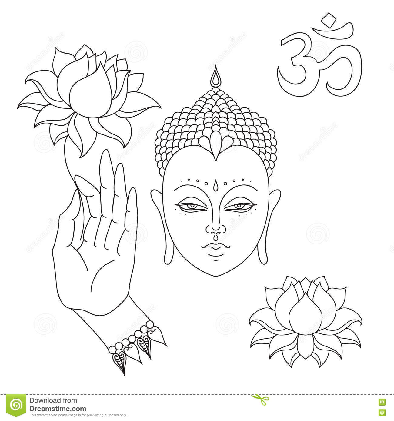 Head Of Buddha Om Sign Hand Drawn Buddha Hand With Lotus Flower